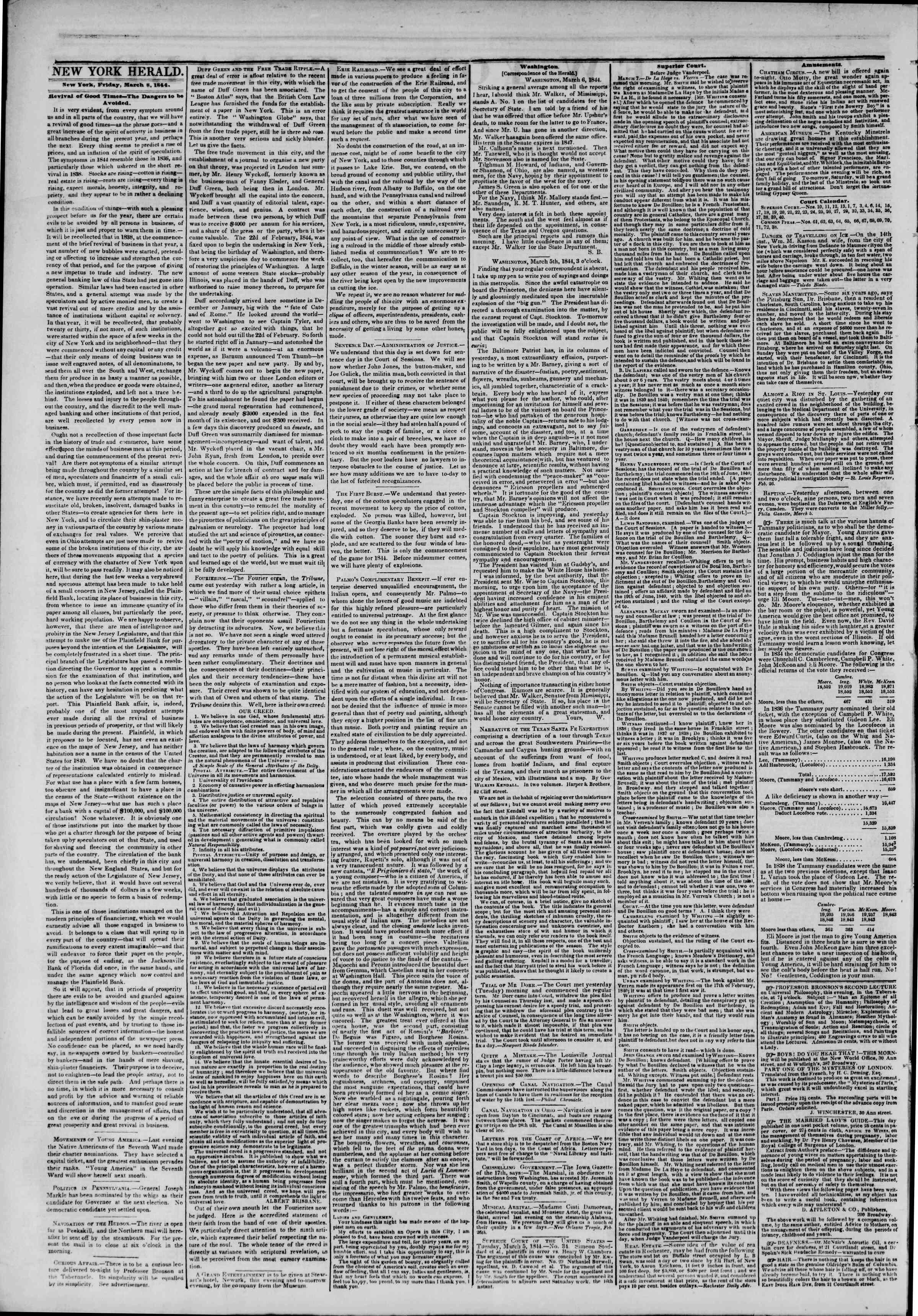 March 8, 1844 Tarihli The New York Herald Gazetesi Sayfa 2