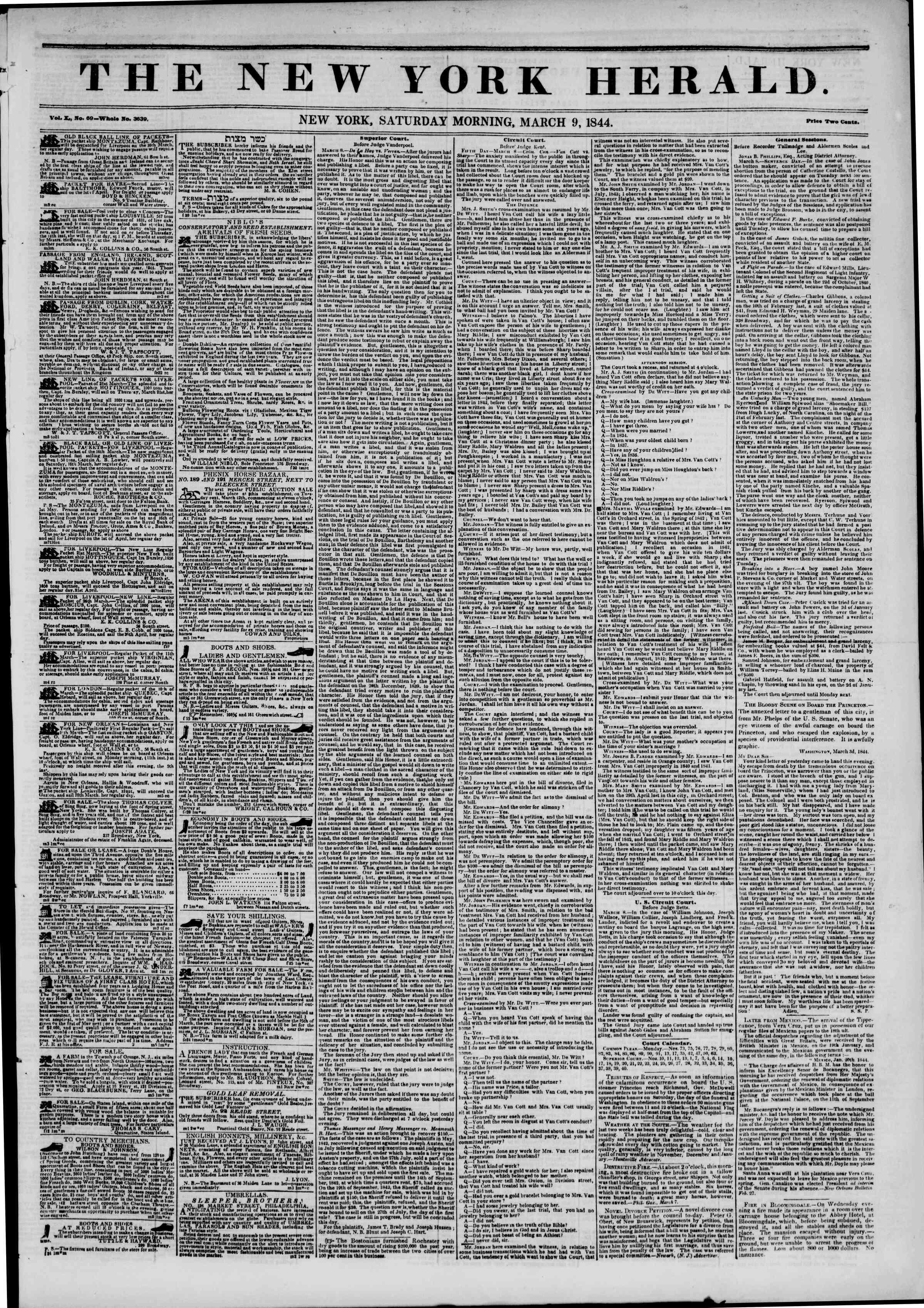 March 9, 1844 Tarihli The New York Herald Gazetesi Sayfa 1