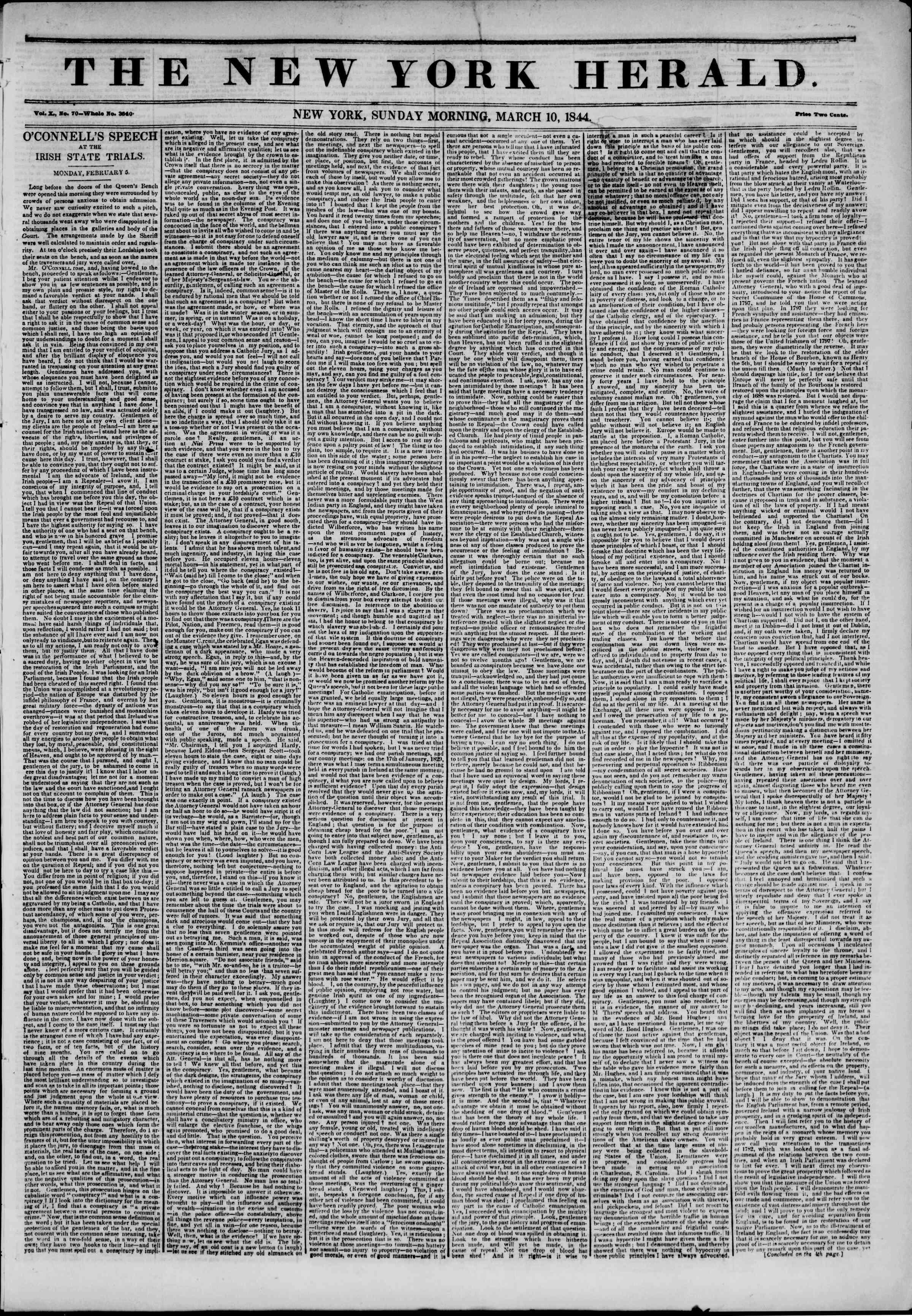 March 10, 1844 Tarihli The New York Herald Gazetesi Sayfa 1