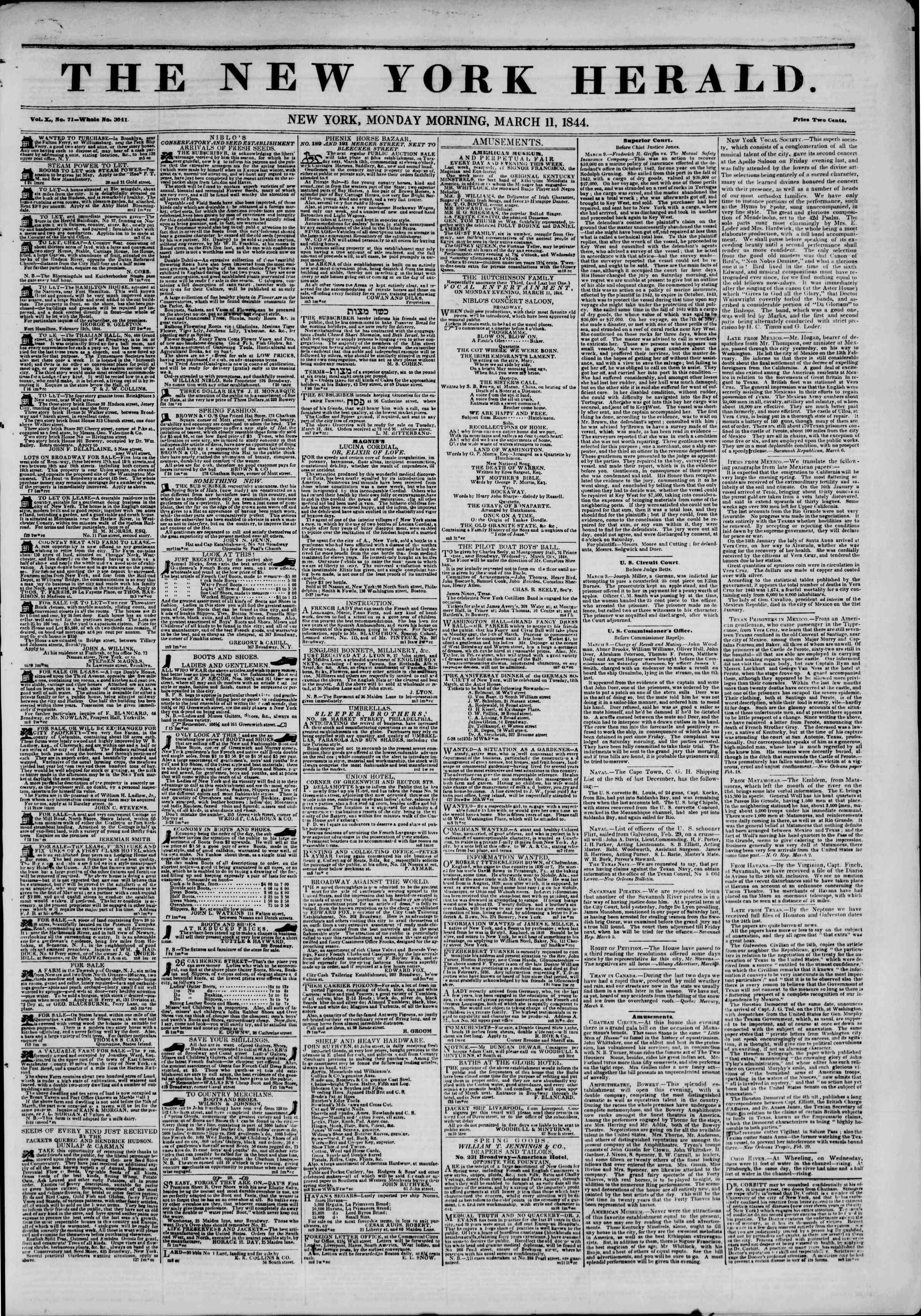 March 11, 1844 Tarihli The New York Herald Gazetesi Sayfa 1