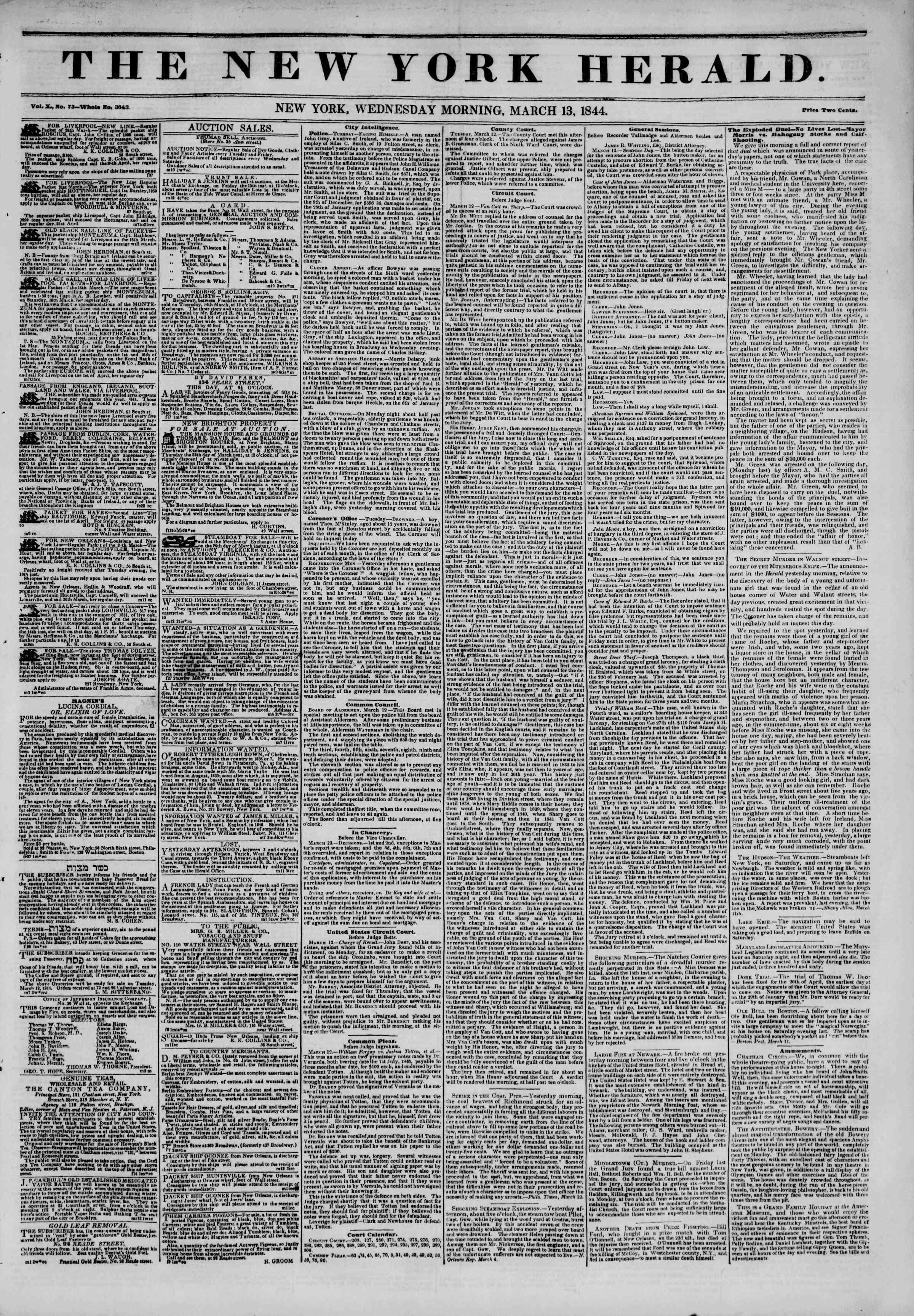 13 Mart 1844 tarihli The New York Herald Gazetesi Sayfa 1