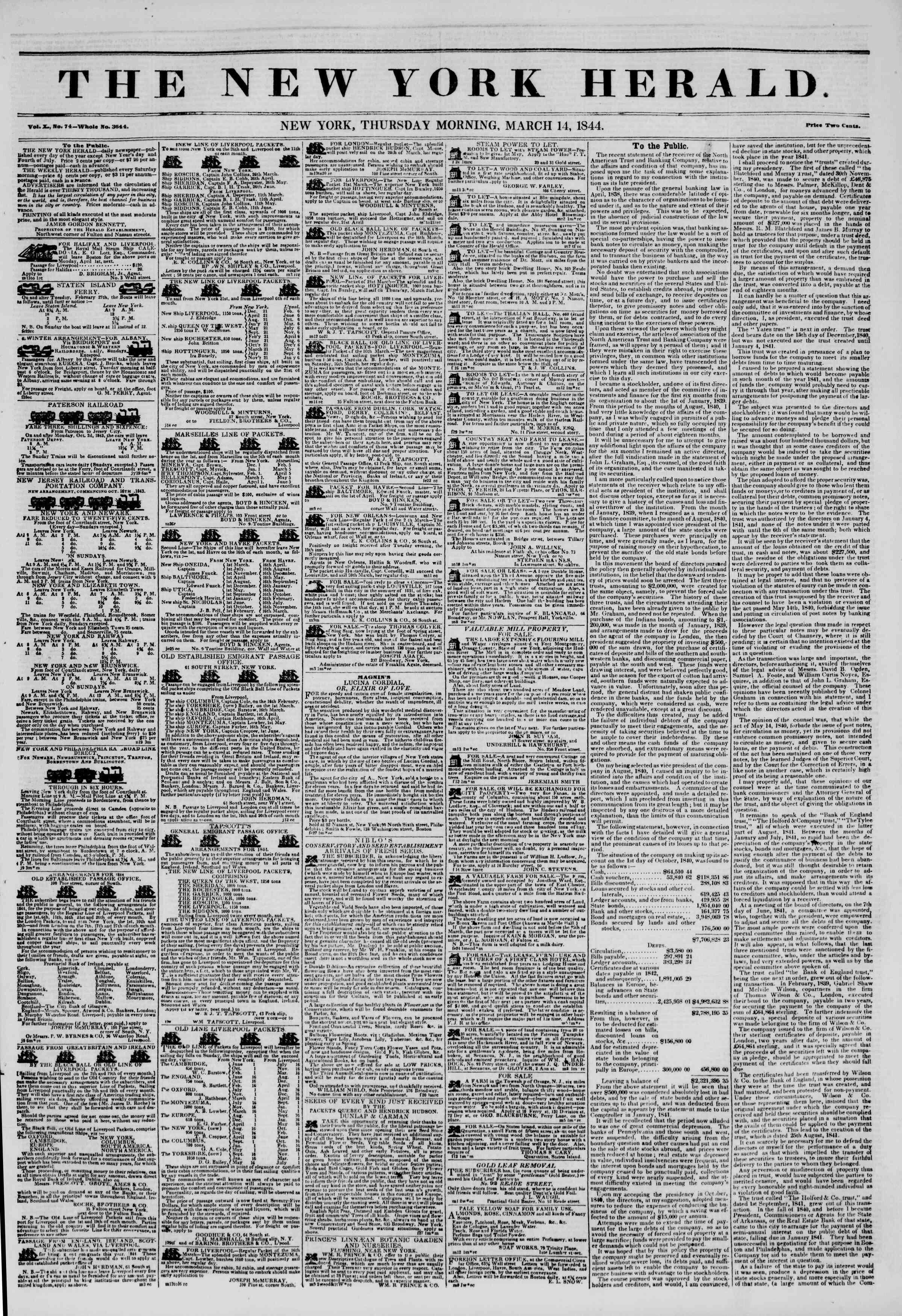 March 14, 1844 Tarihli The New York Herald Gazetesi Sayfa 1