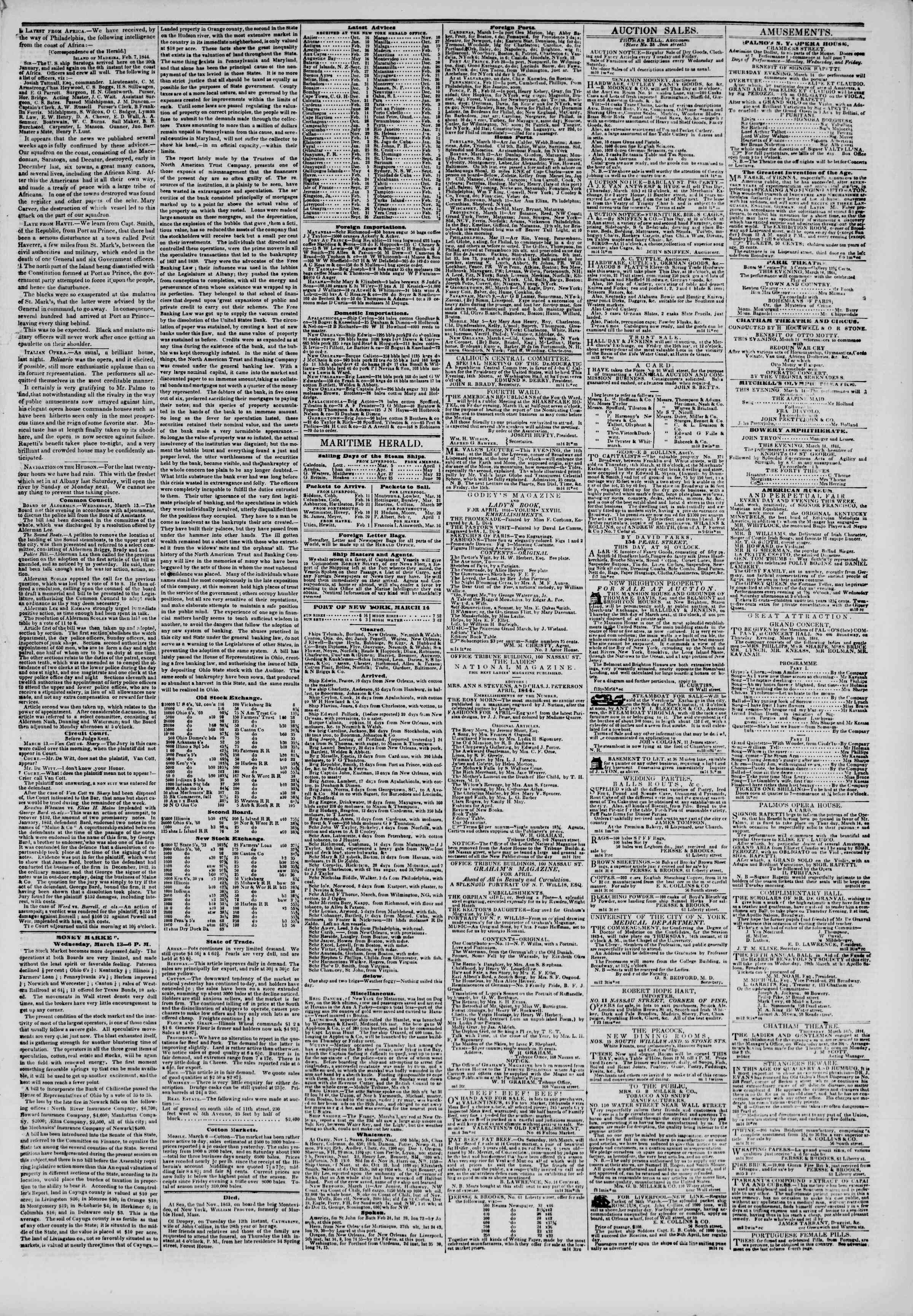 Newspaper of The New York Herald dated March 14, 1844 Page 5