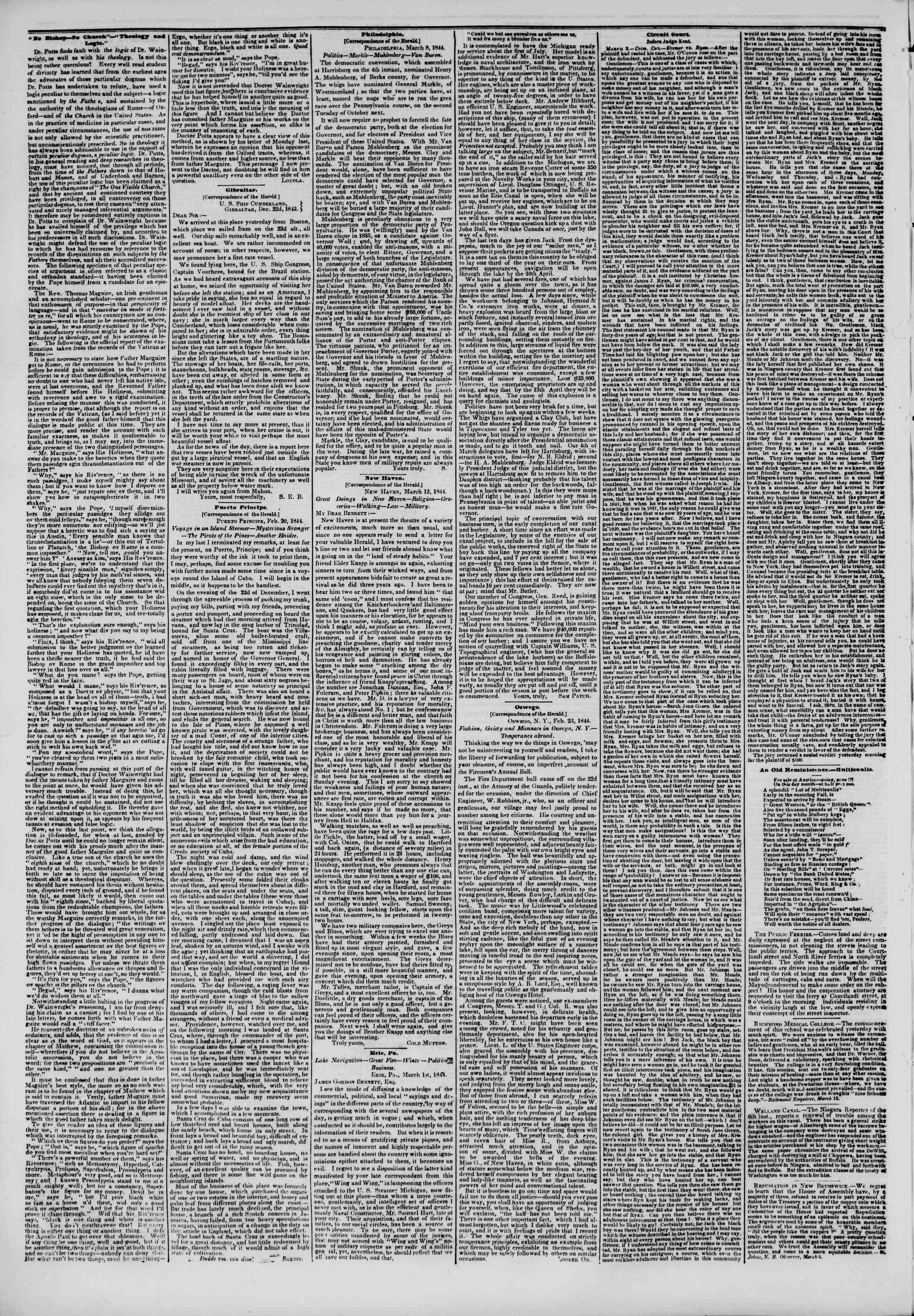 March 14, 1844 Tarihli The New York Herald Gazetesi Sayfa 6