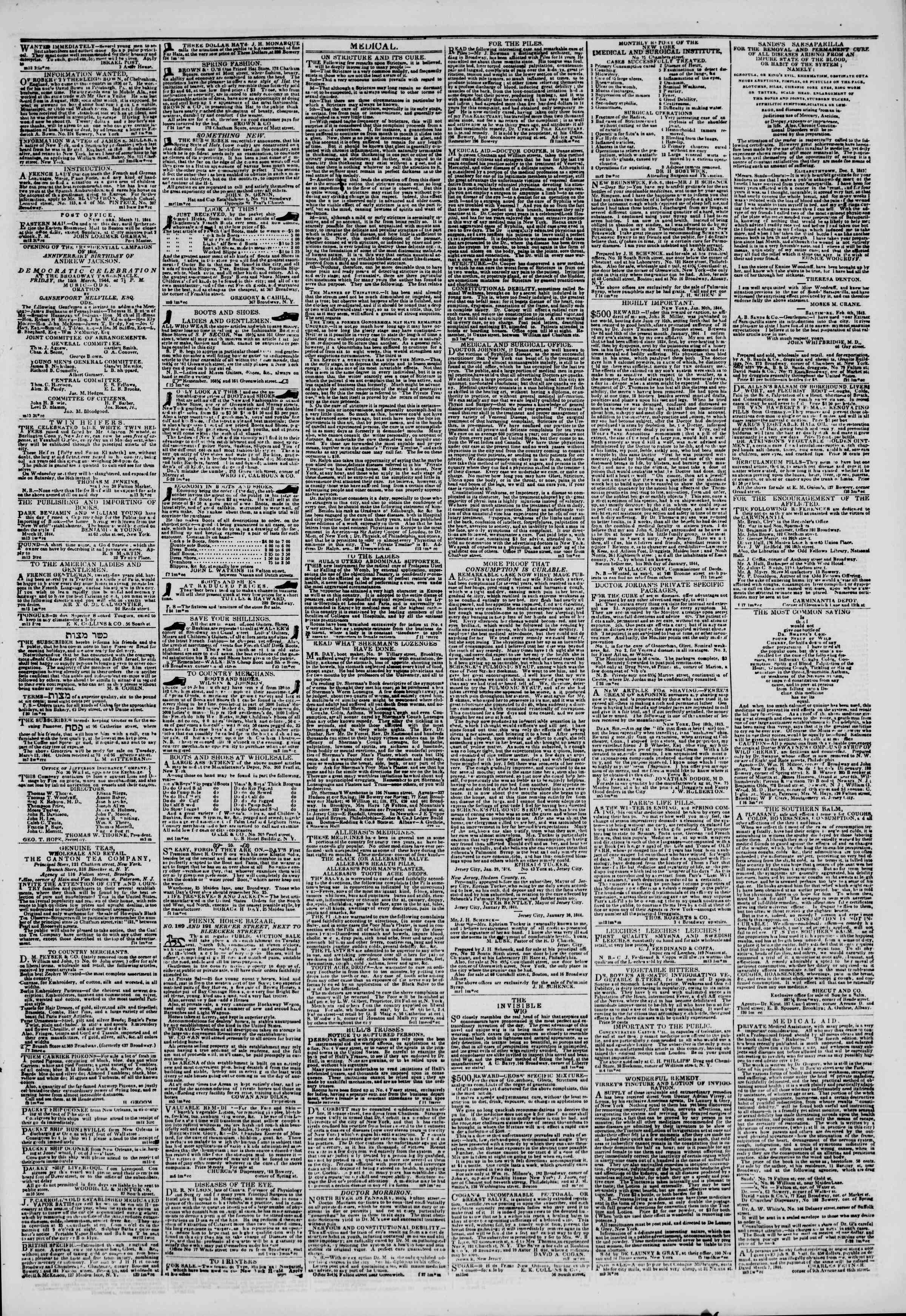Newspaper of The New York Herald dated March 14, 1844 Page 7