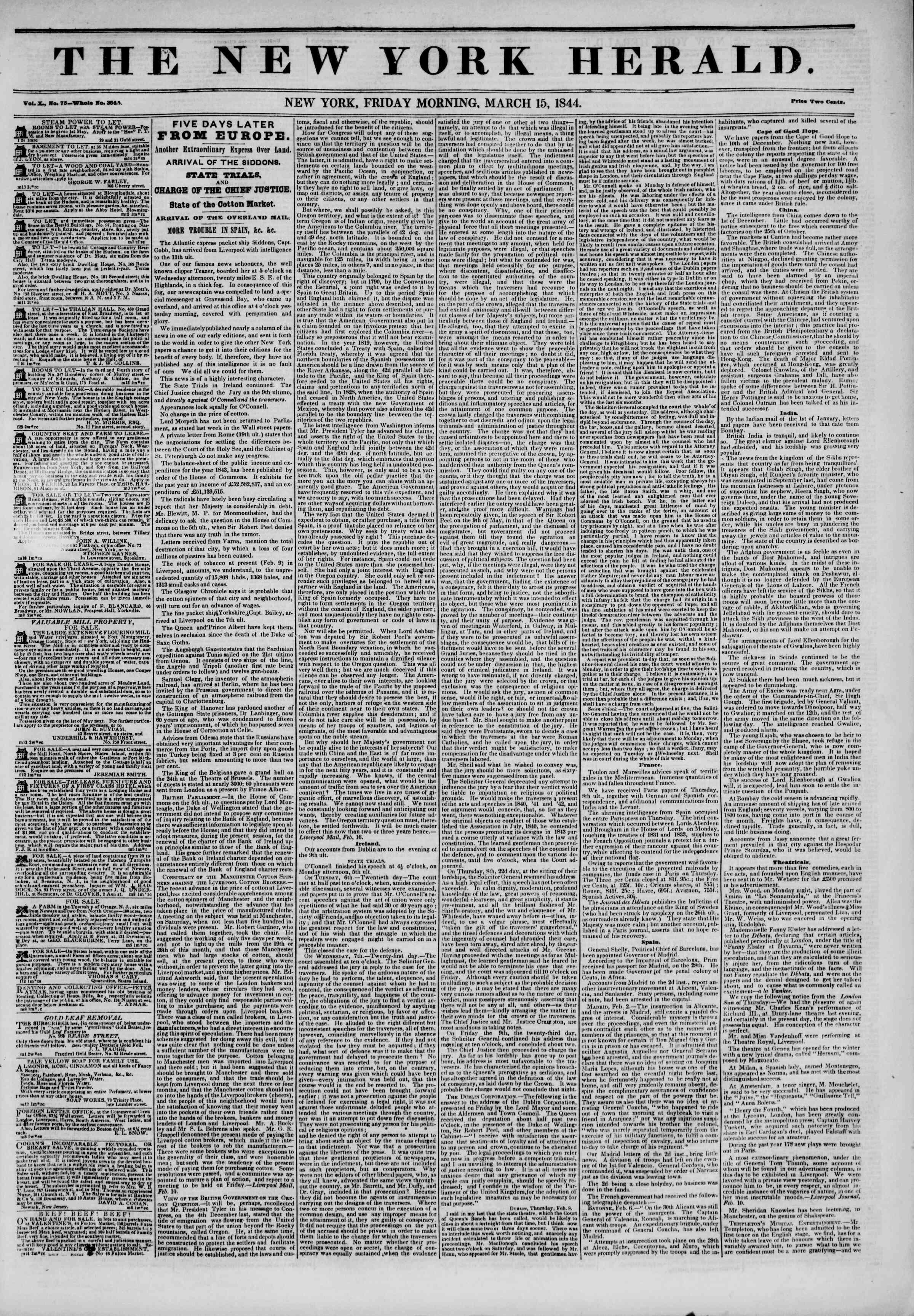 March 15, 1844 Tarihli The New York Herald Gazetesi Sayfa 1