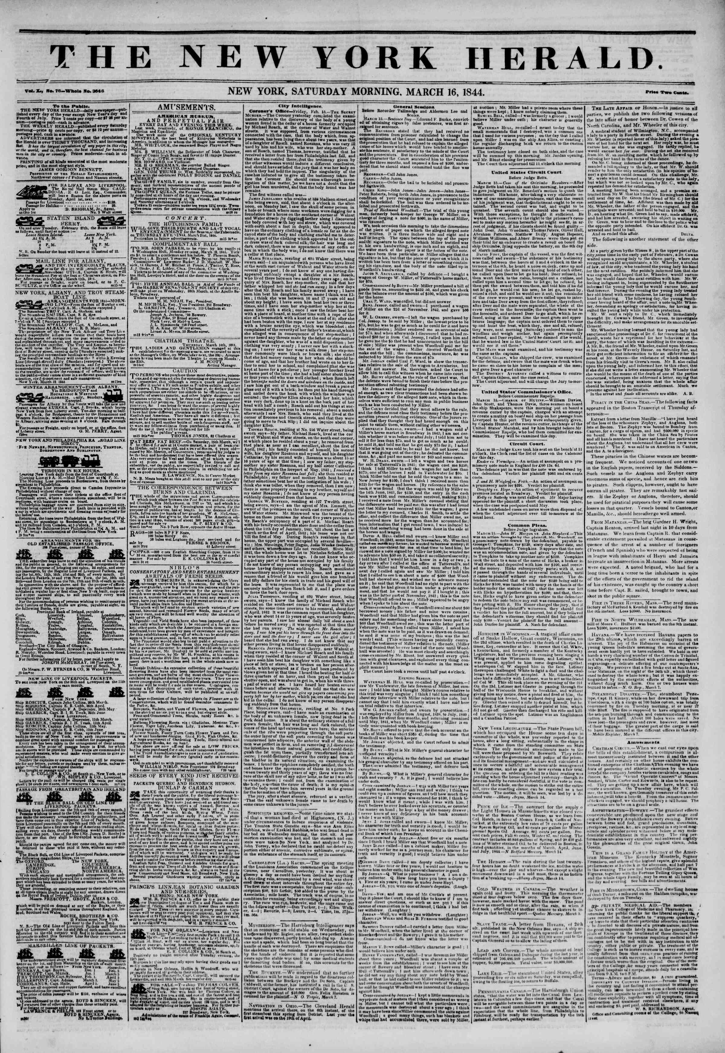 Newspaper of The New York Herald dated March 16, 1844 Page 1