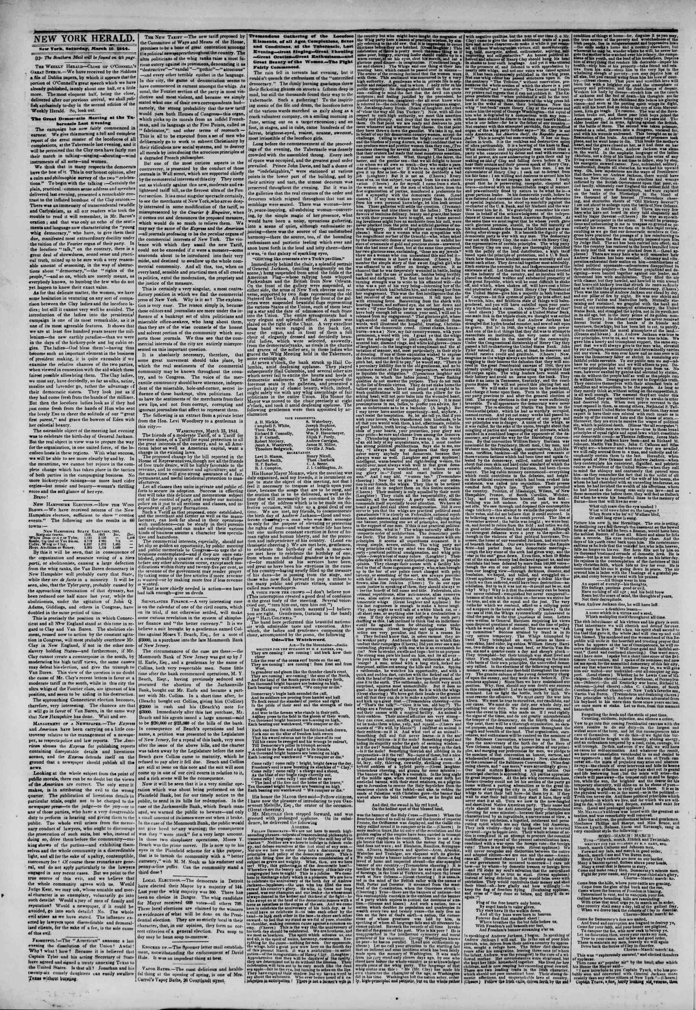 March 16, 1844 Tarihli The New York Herald Gazetesi Sayfa 2
