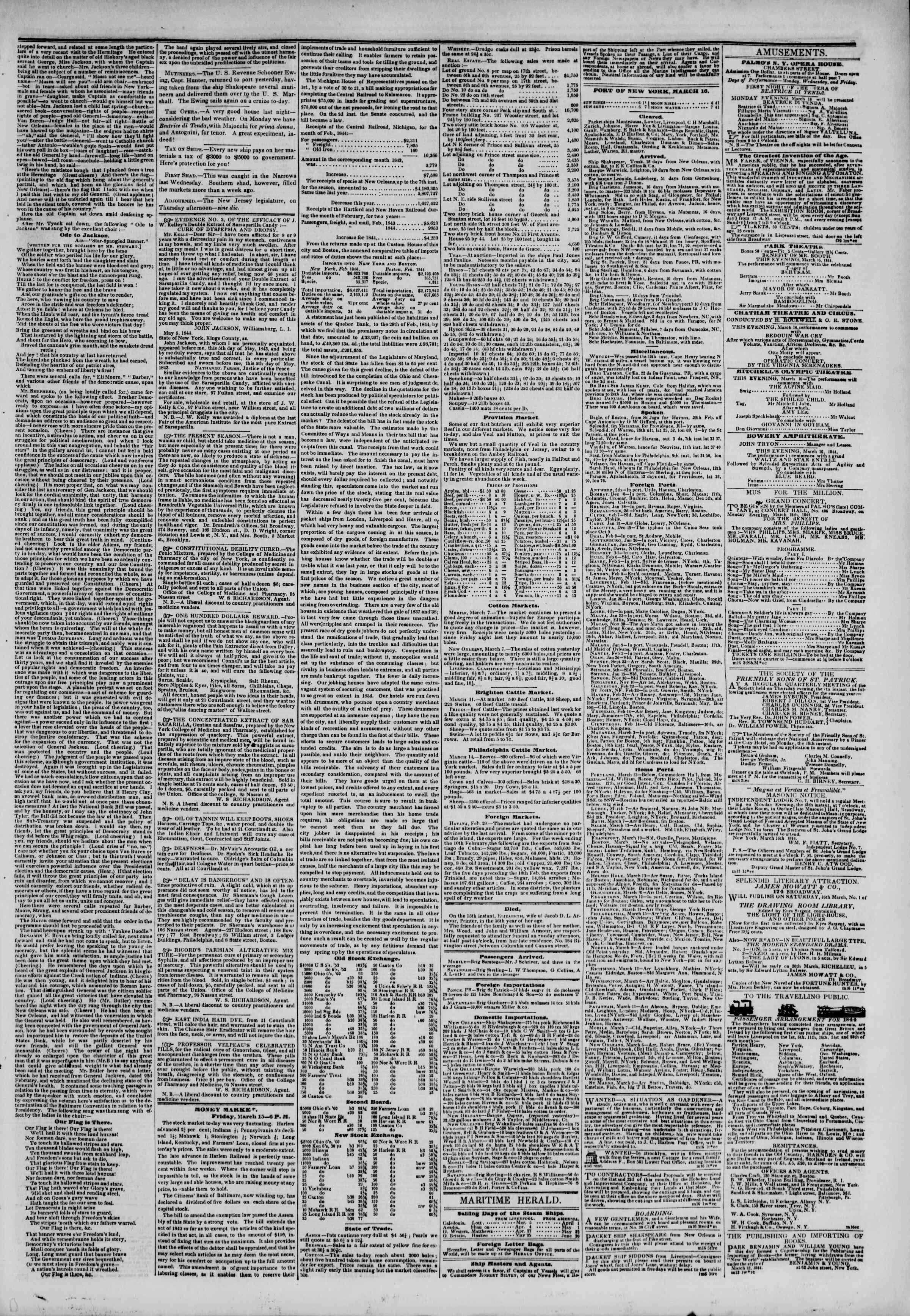 Newspaper of The New York Herald dated March 16, 1844 Page 3