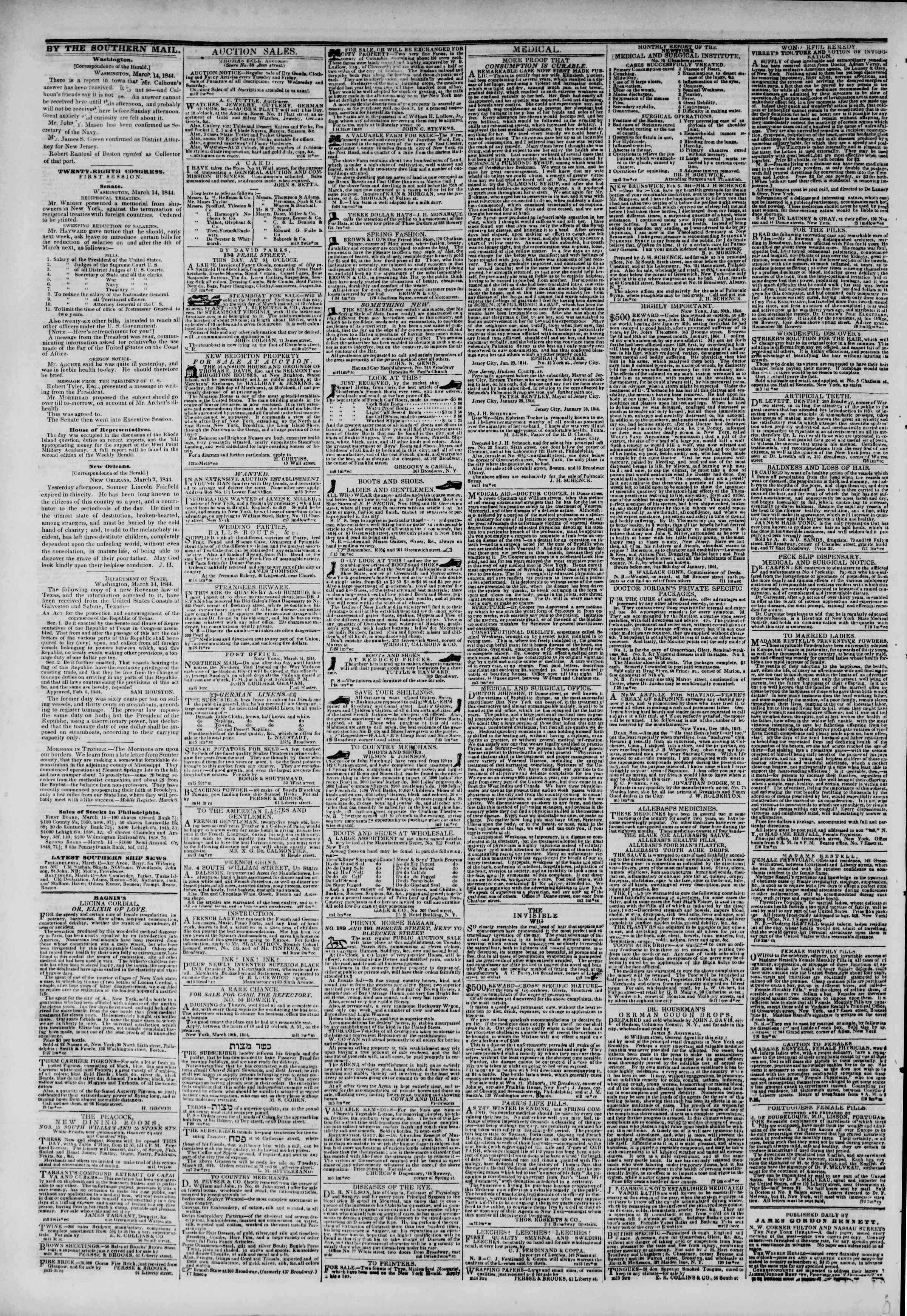 March 16, 1844 Tarihli The New York Herald Gazetesi Sayfa 4