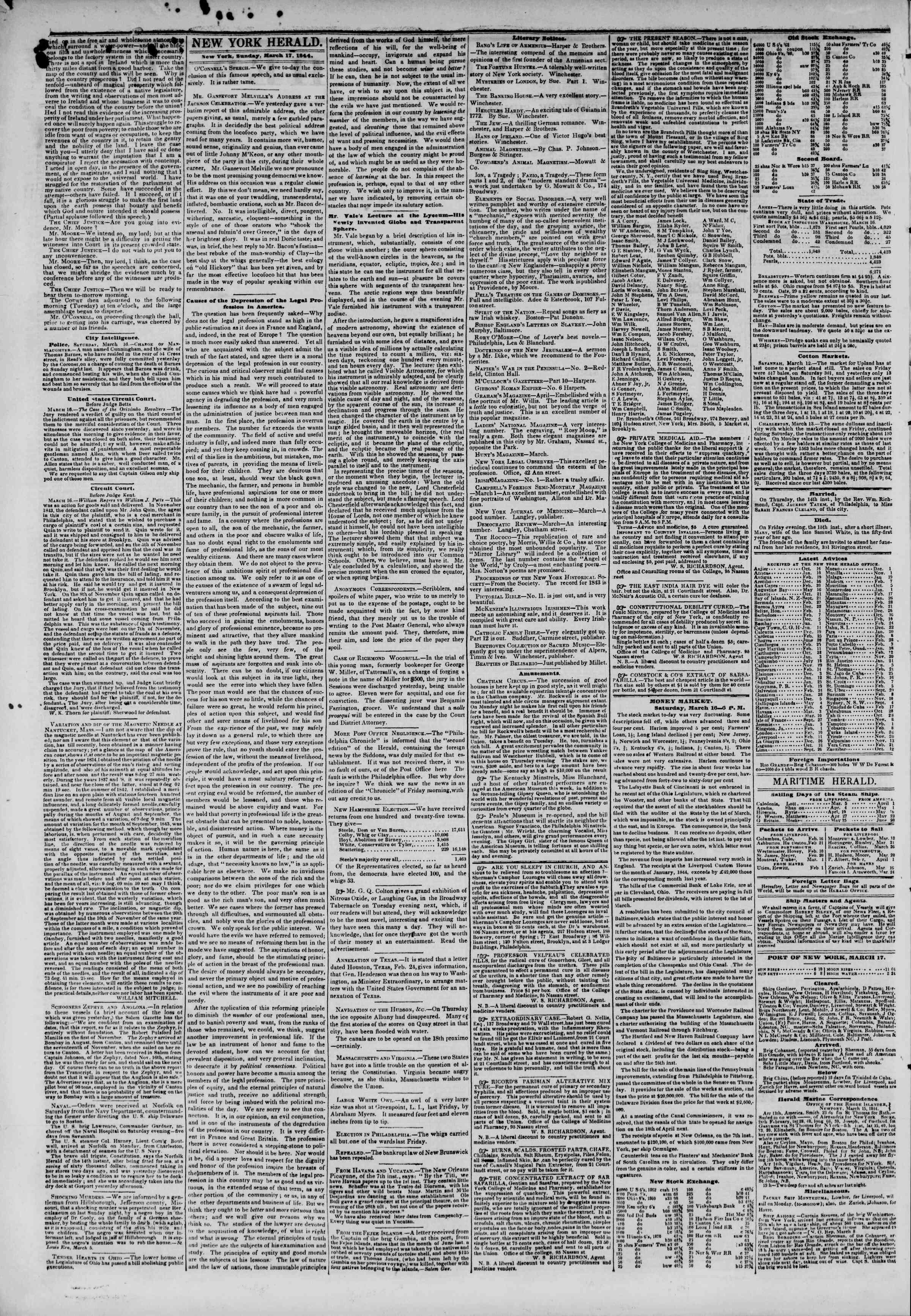 March 17, 1844 Tarihli The New York Herald Gazetesi Sayfa 2