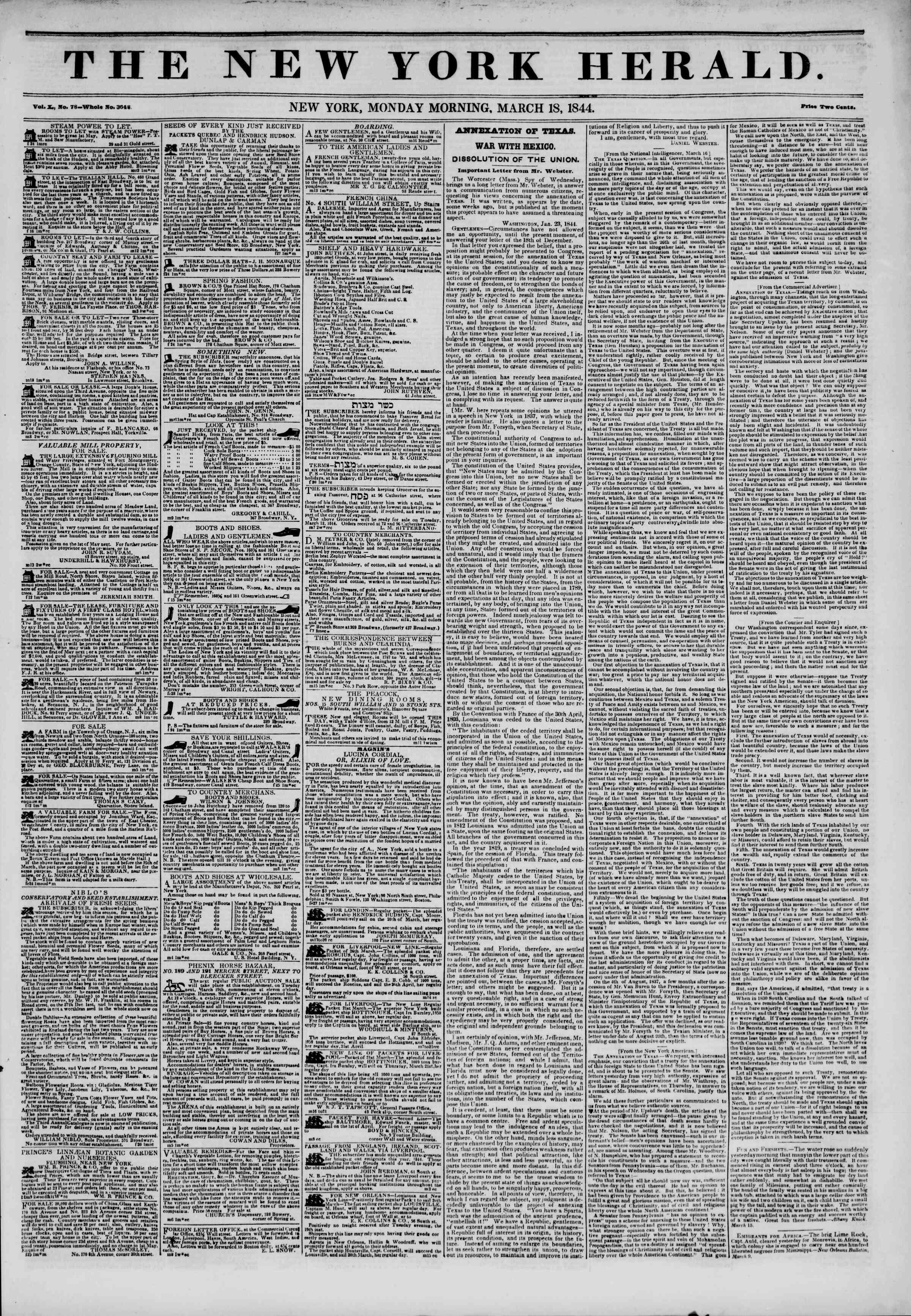 March 18, 1844 Tarihli The New York Herald Gazetesi Sayfa 1