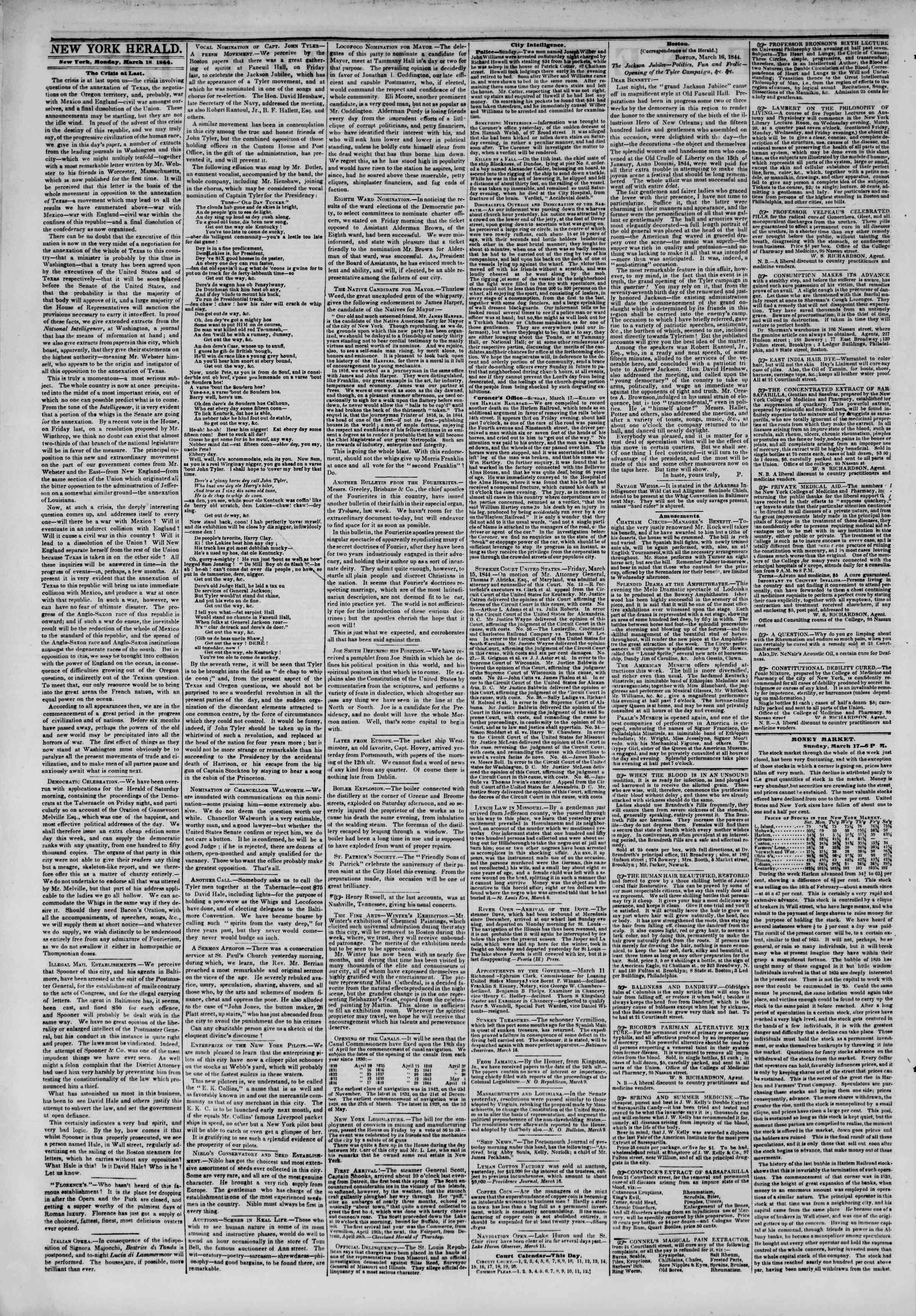 March 18, 1844 Tarihli The New York Herald Gazetesi Sayfa 2