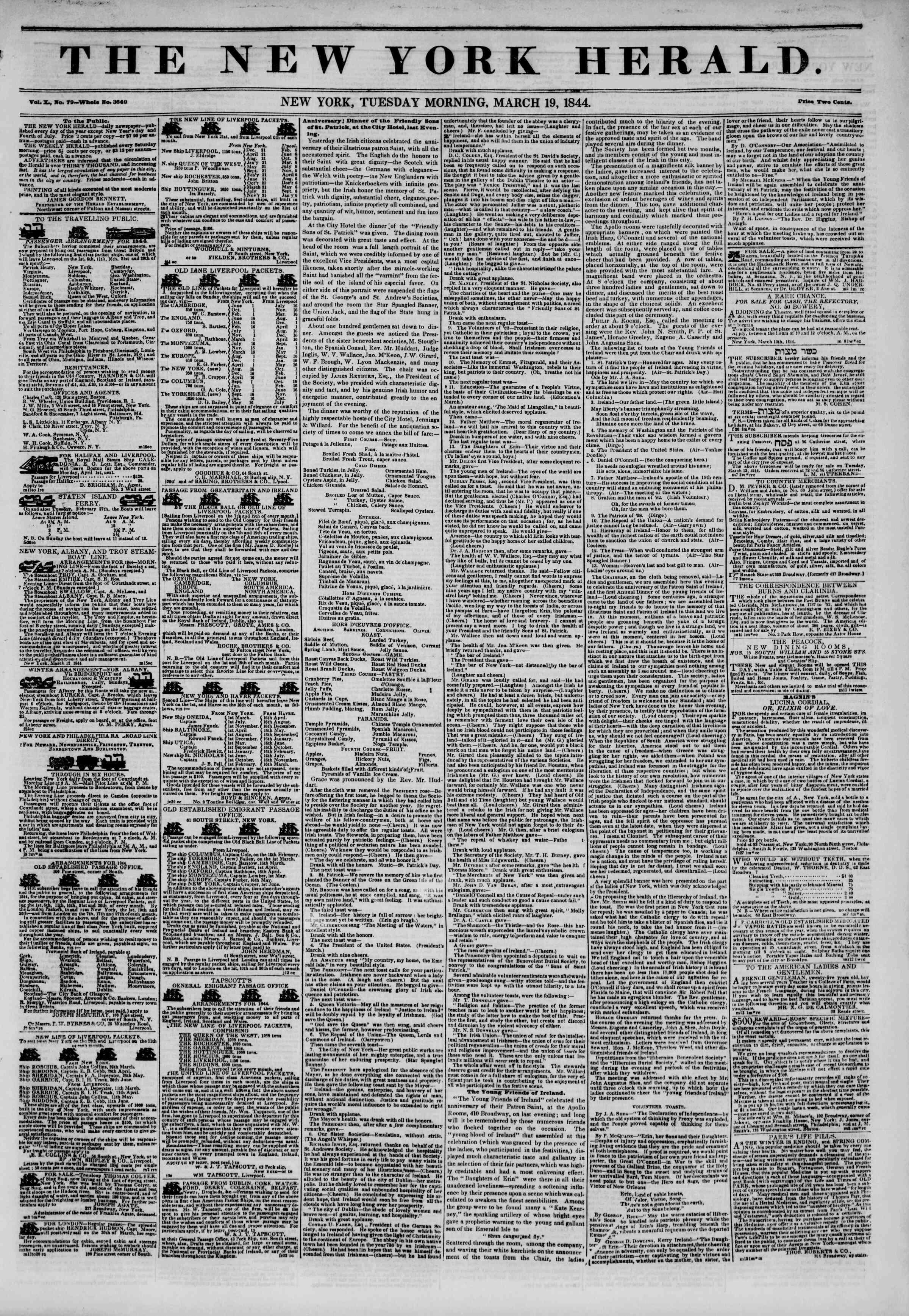 March 19, 1844 Tarihli The New York Herald Gazetesi Sayfa 1