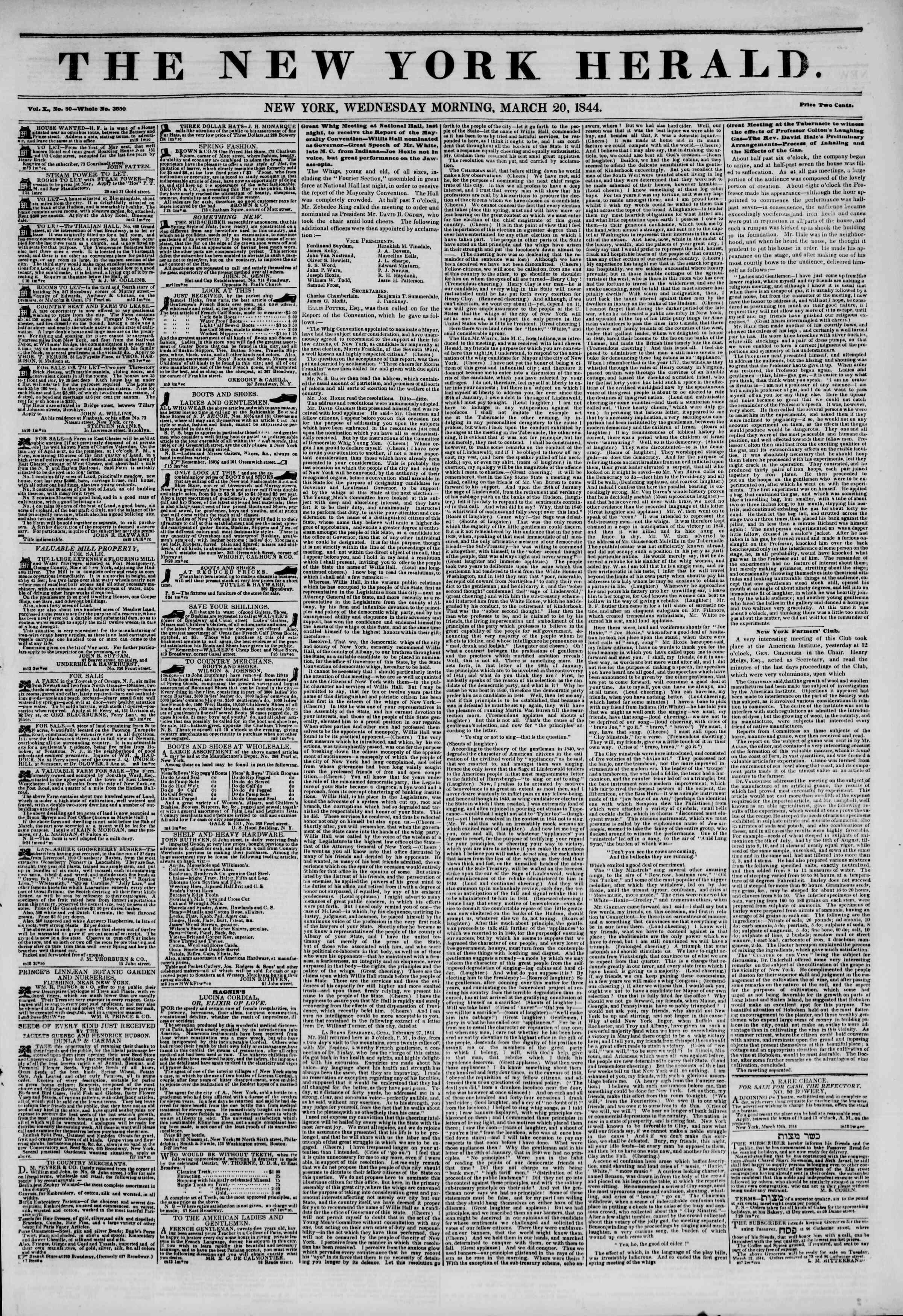 March 20, 1844 Tarihli The New York Herald Gazetesi Sayfa 1