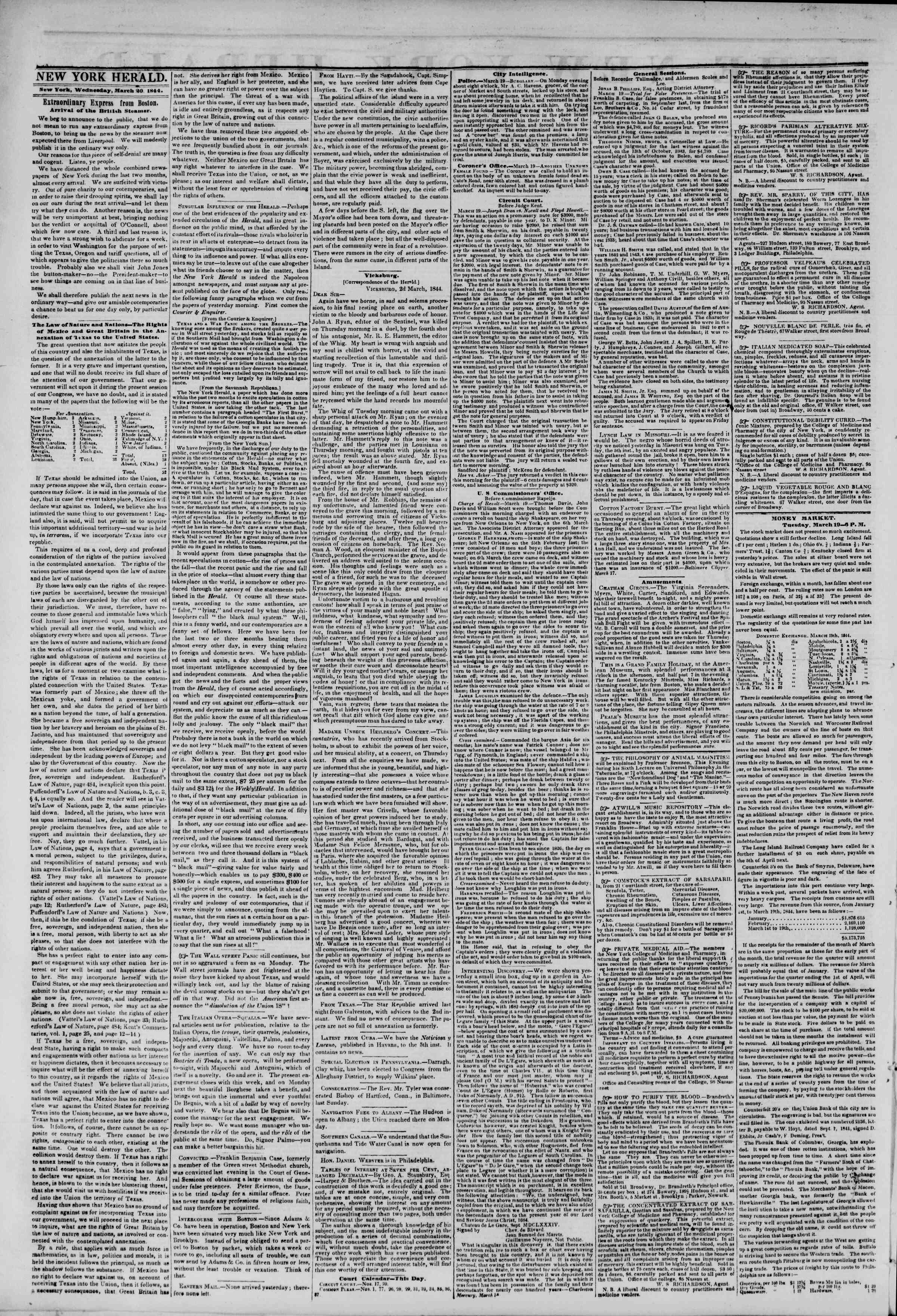 Newspaper of The New York Herald dated March 20, 1844 Page 2