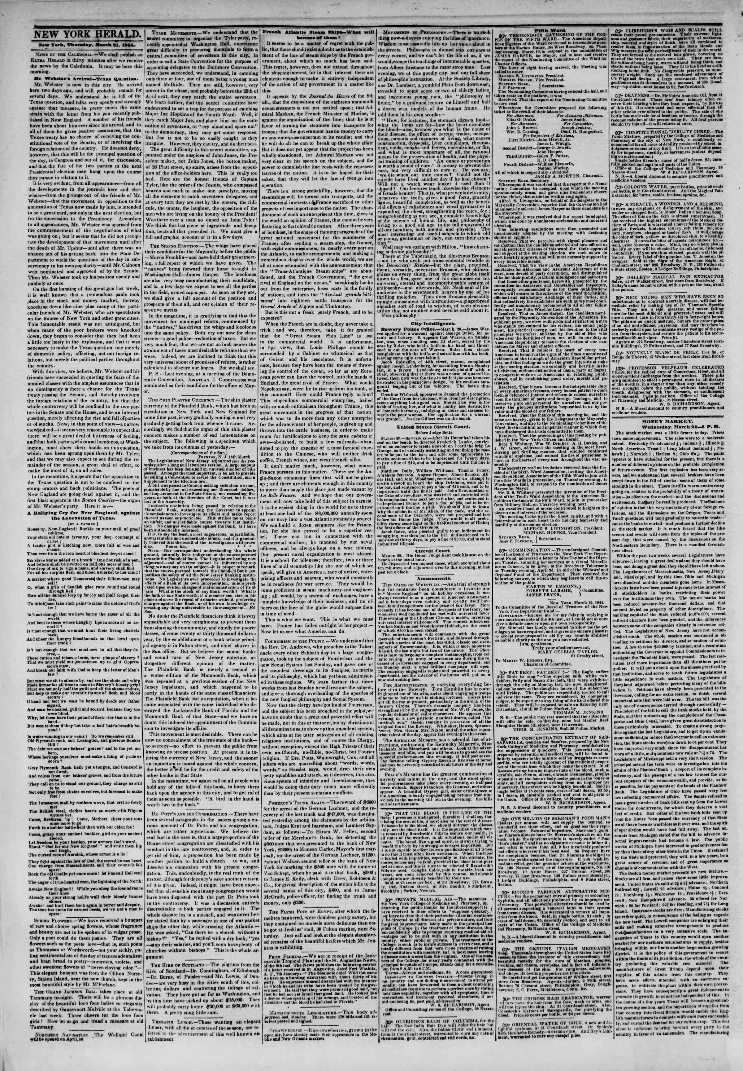 Newspaper of The New York Herald dated March 21, 1844 Page 2