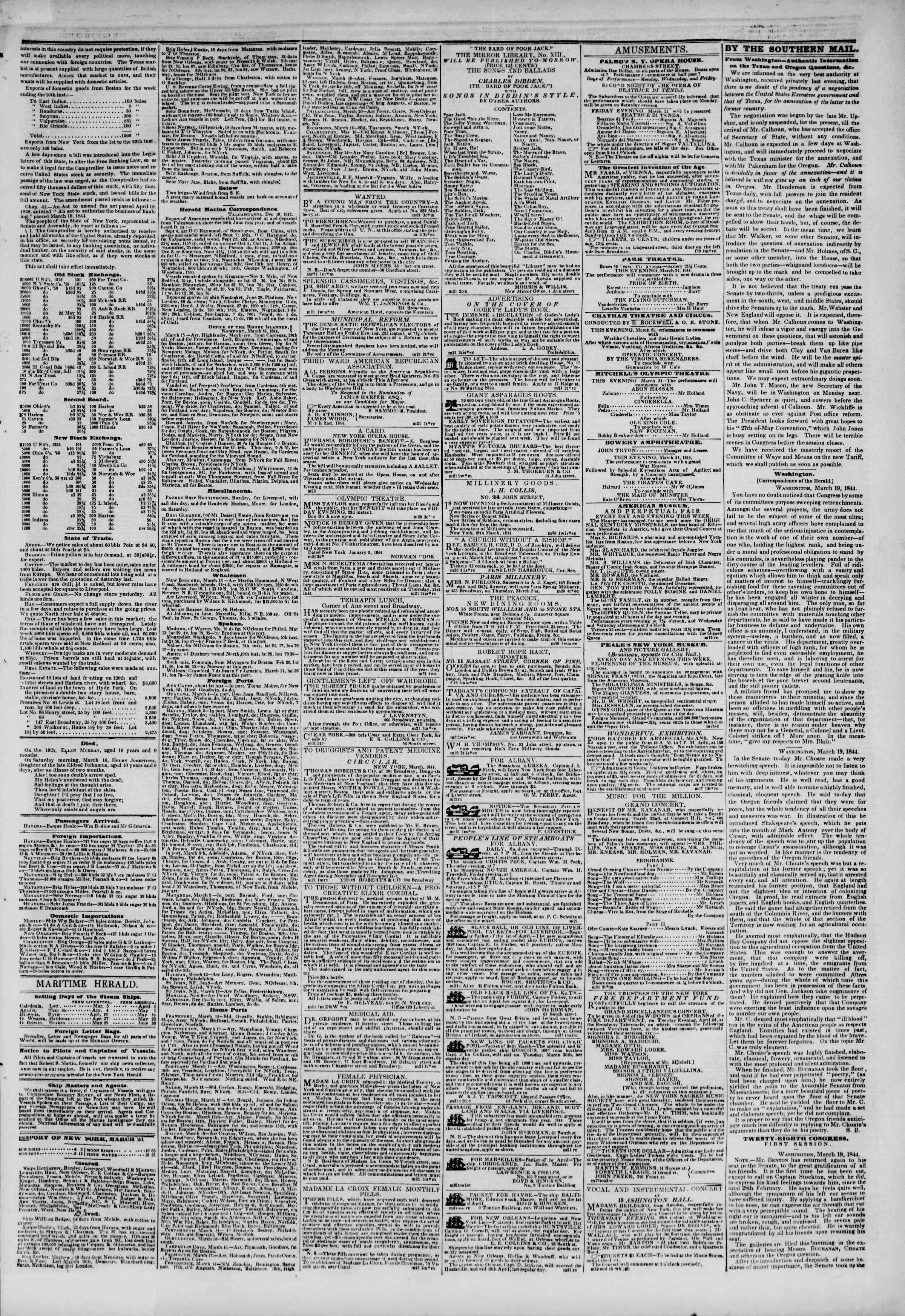 March 21, 1844 Tarihli The New York Herald Gazetesi Sayfa 3
