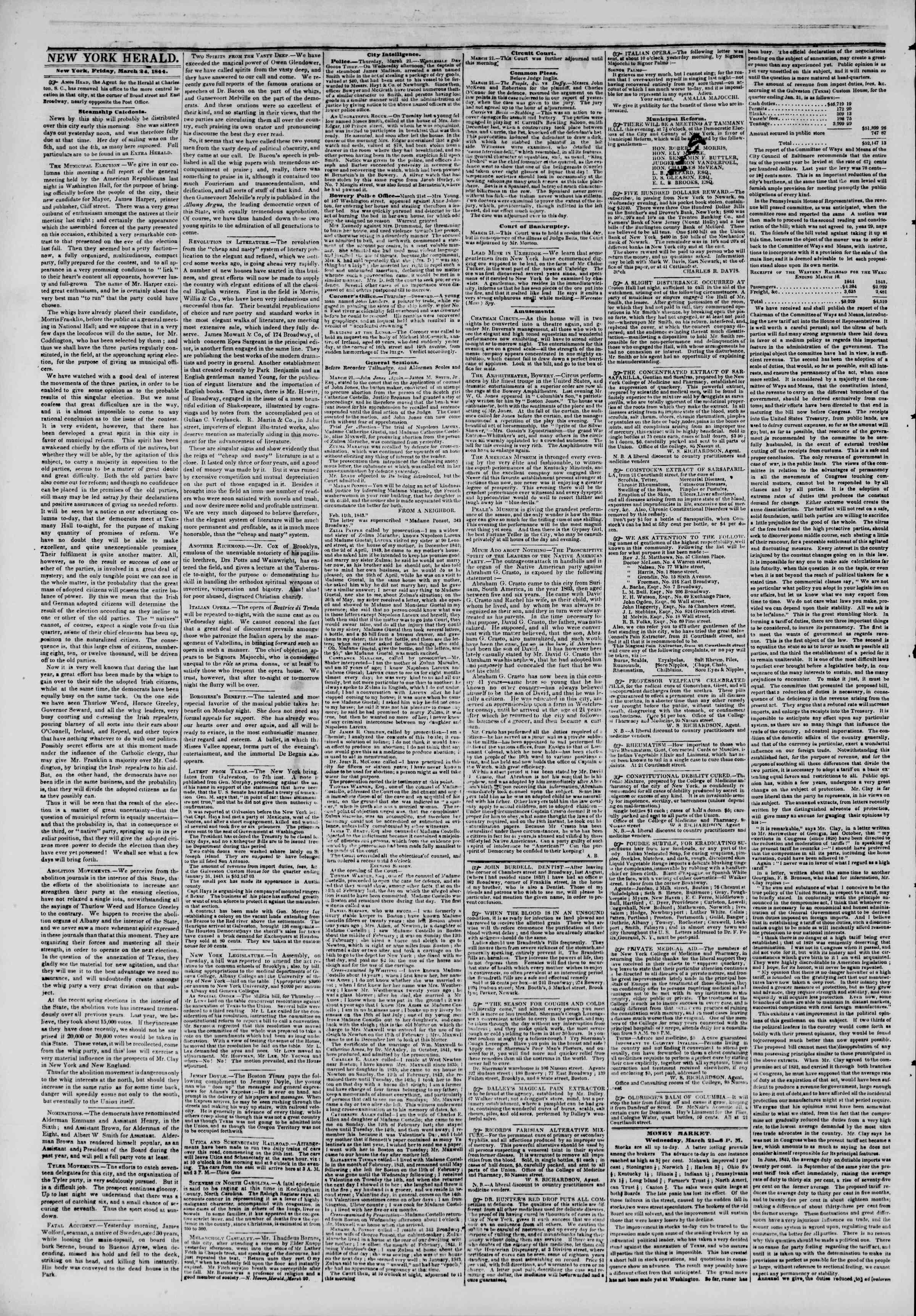 March 22, 1844 Tarihli The New York Herald Gazetesi Sayfa 2