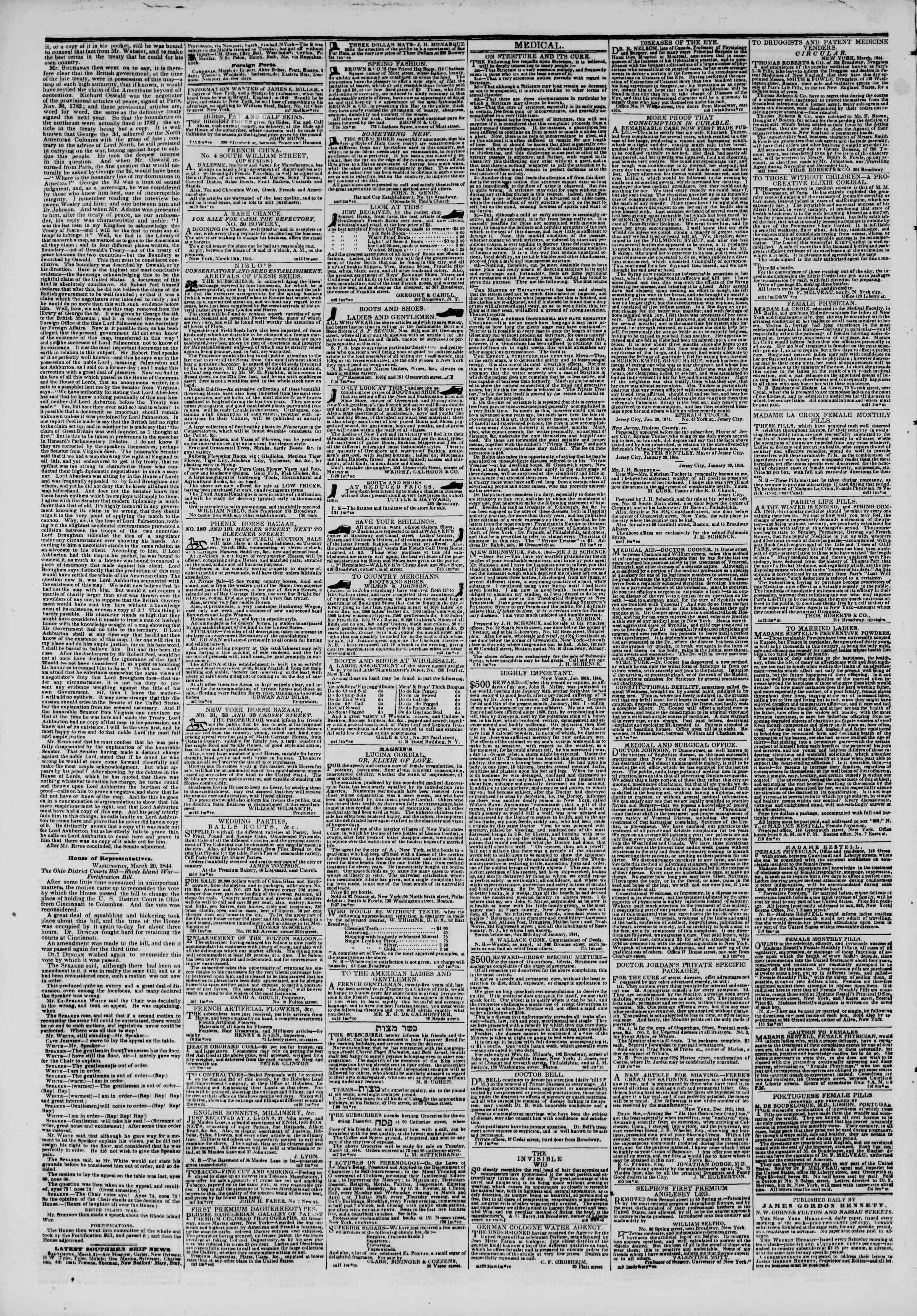 Newspaper of The New York Herald dated March 22, 1844 Page 4