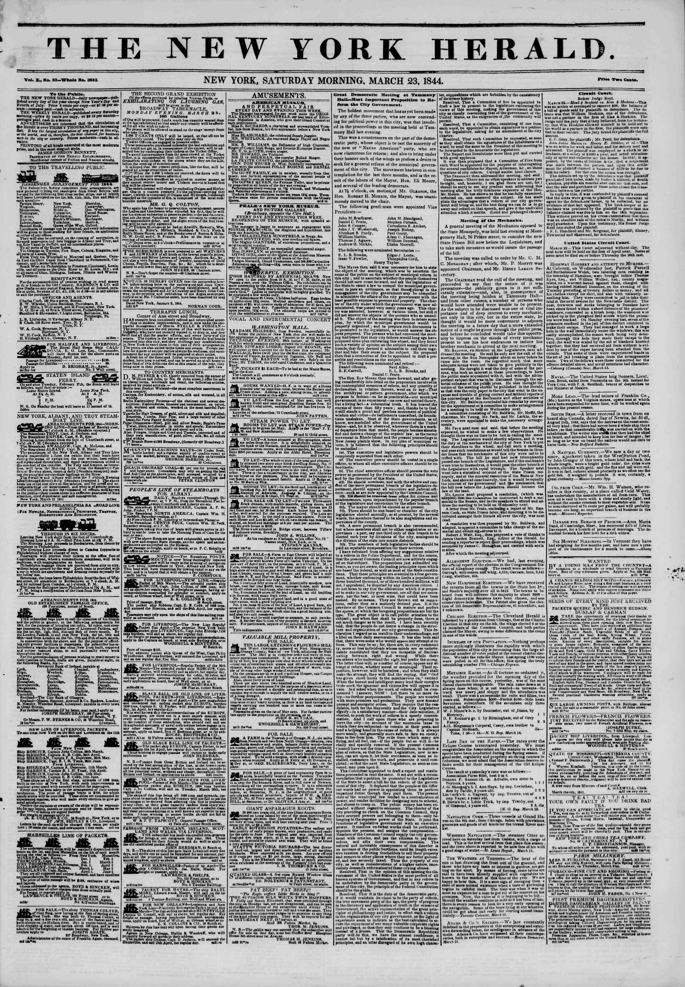 23 Mart 1844 tarihli The New York Herald Gazetesi Sayfa 1
