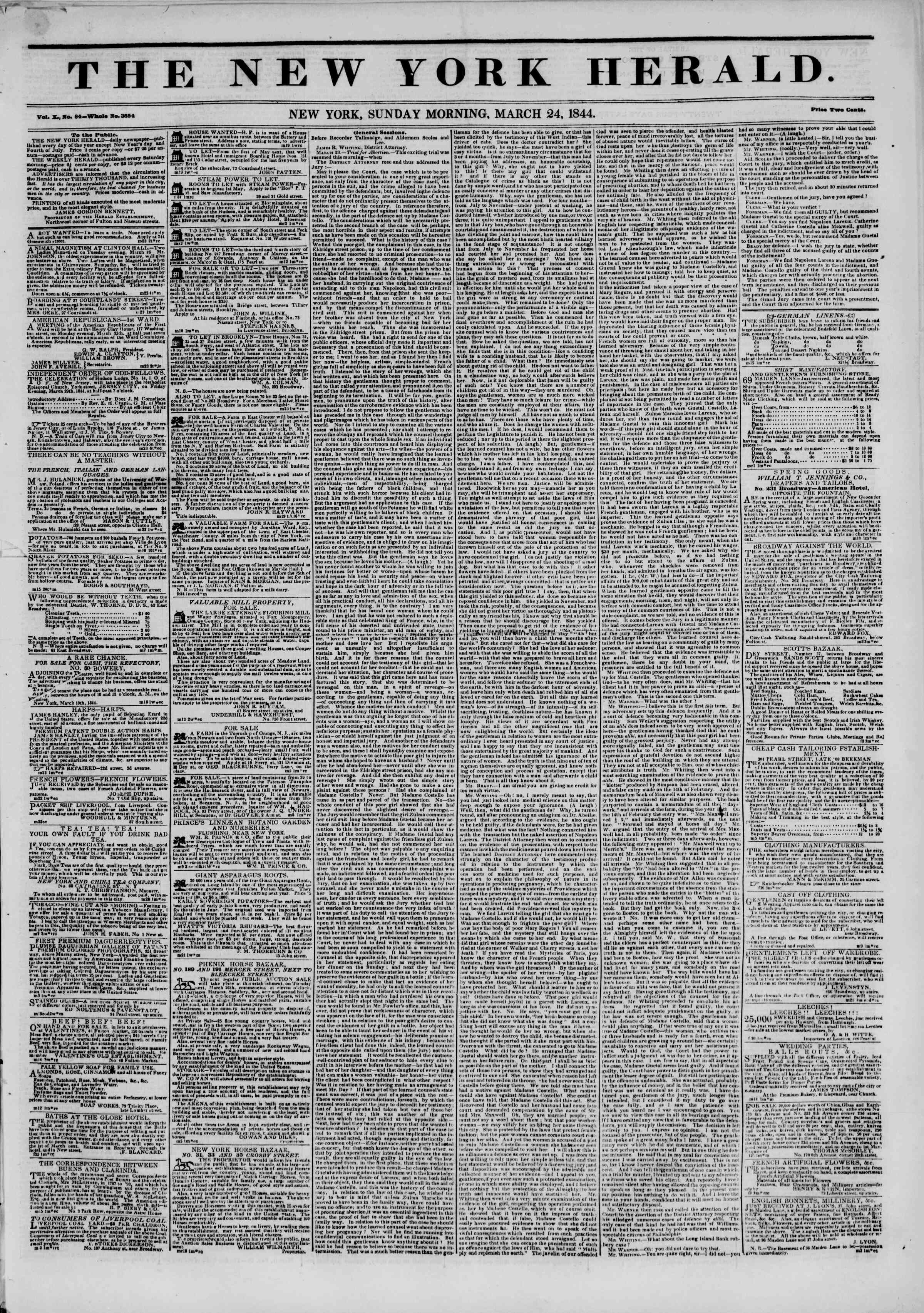 Newspaper of The New York Herald dated March 24, 1844 Page 1