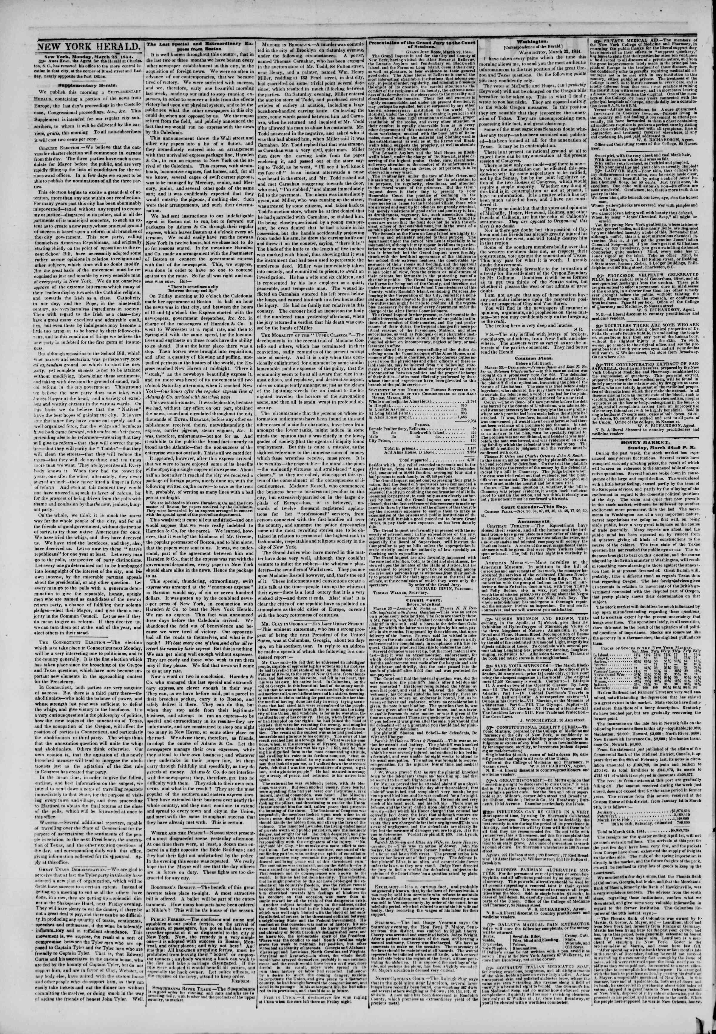 March 25, 1844 Tarihli The New York Herald Gazetesi Sayfa 2