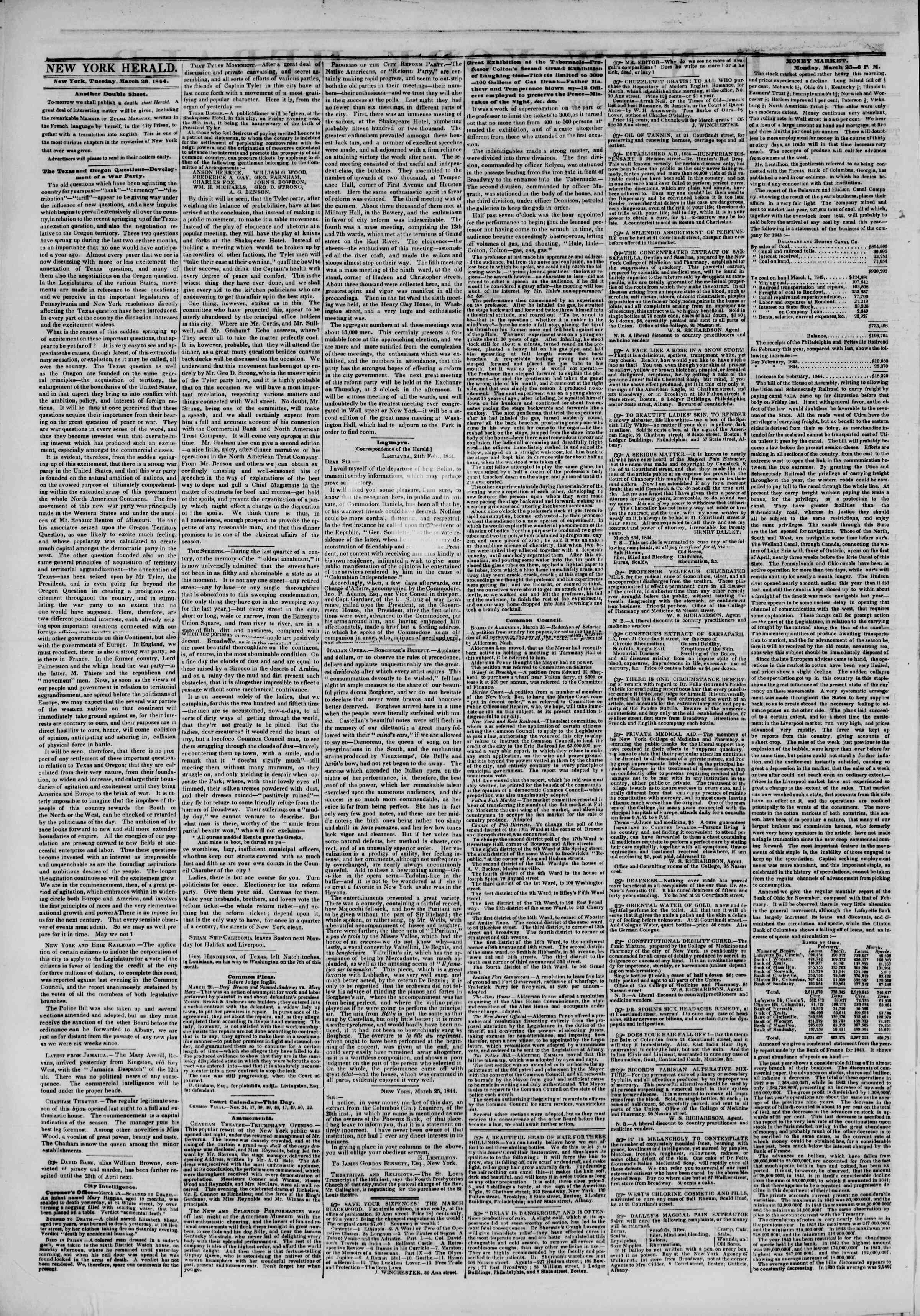 Newspaper of The New York Herald dated March 26, 1844 Page 2