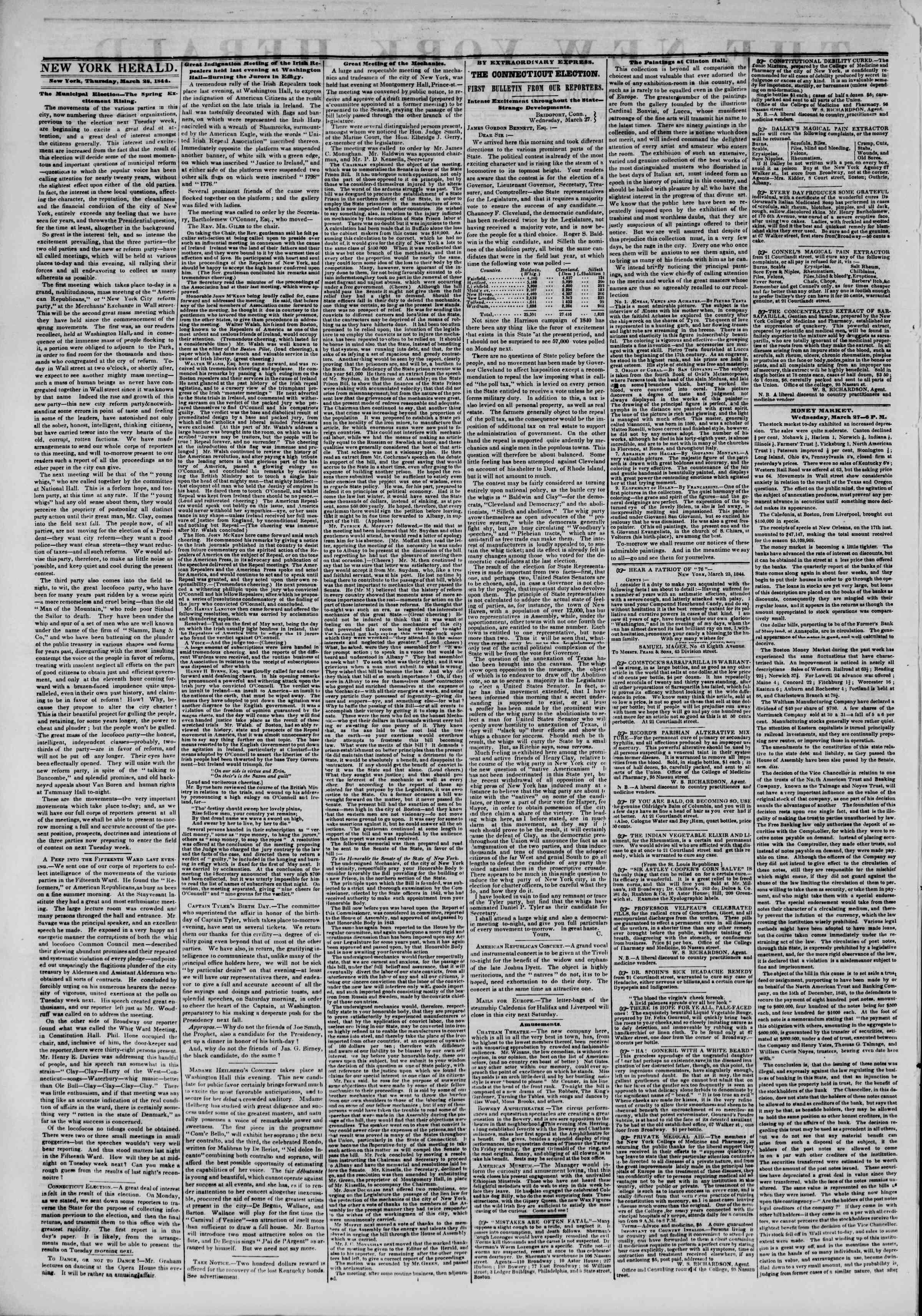 March 28, 1844 Tarihli The New York Herald Gazetesi Sayfa 2