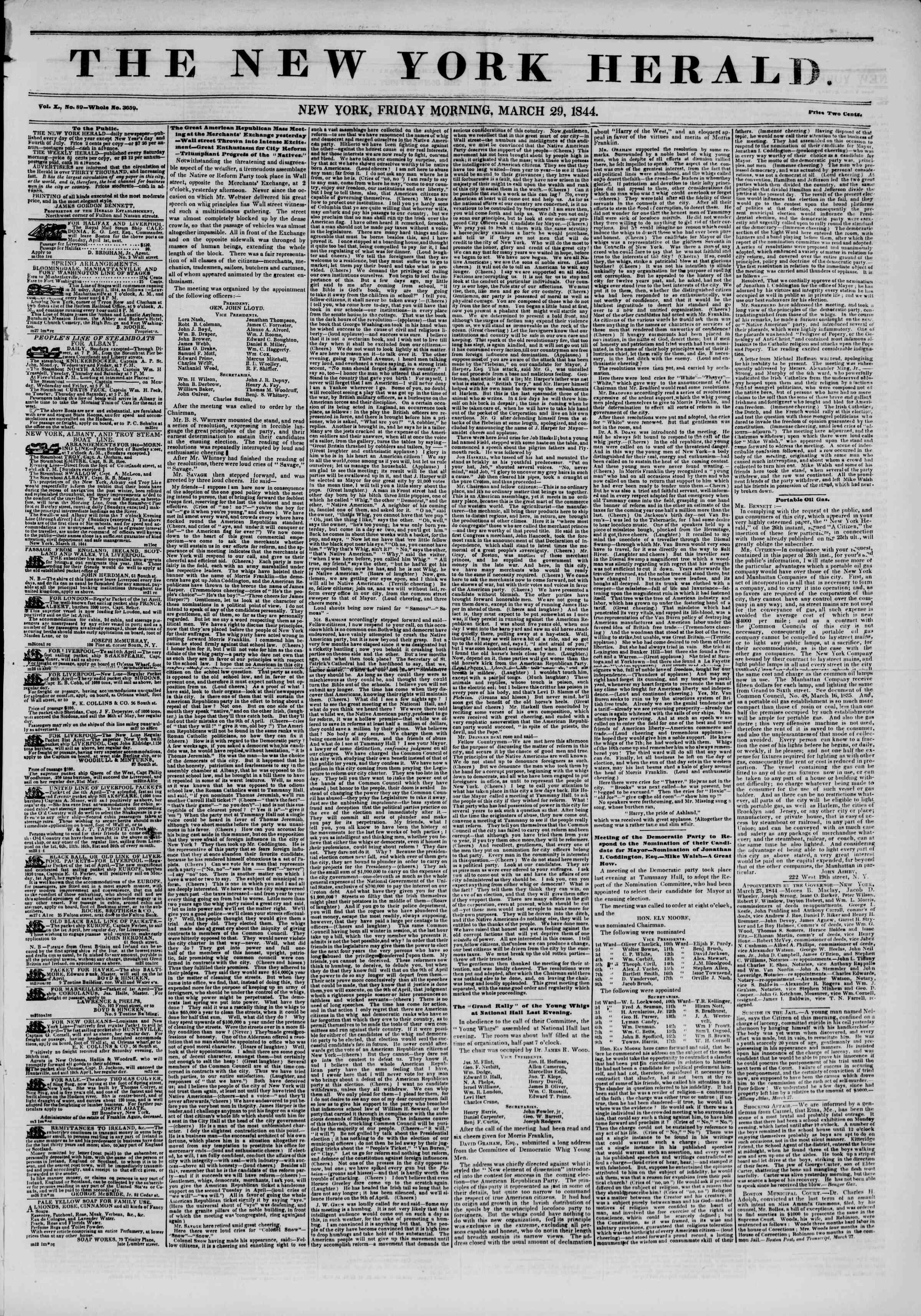 March 29, 1844 Tarihli The New York Herald Gazetesi Sayfa 1