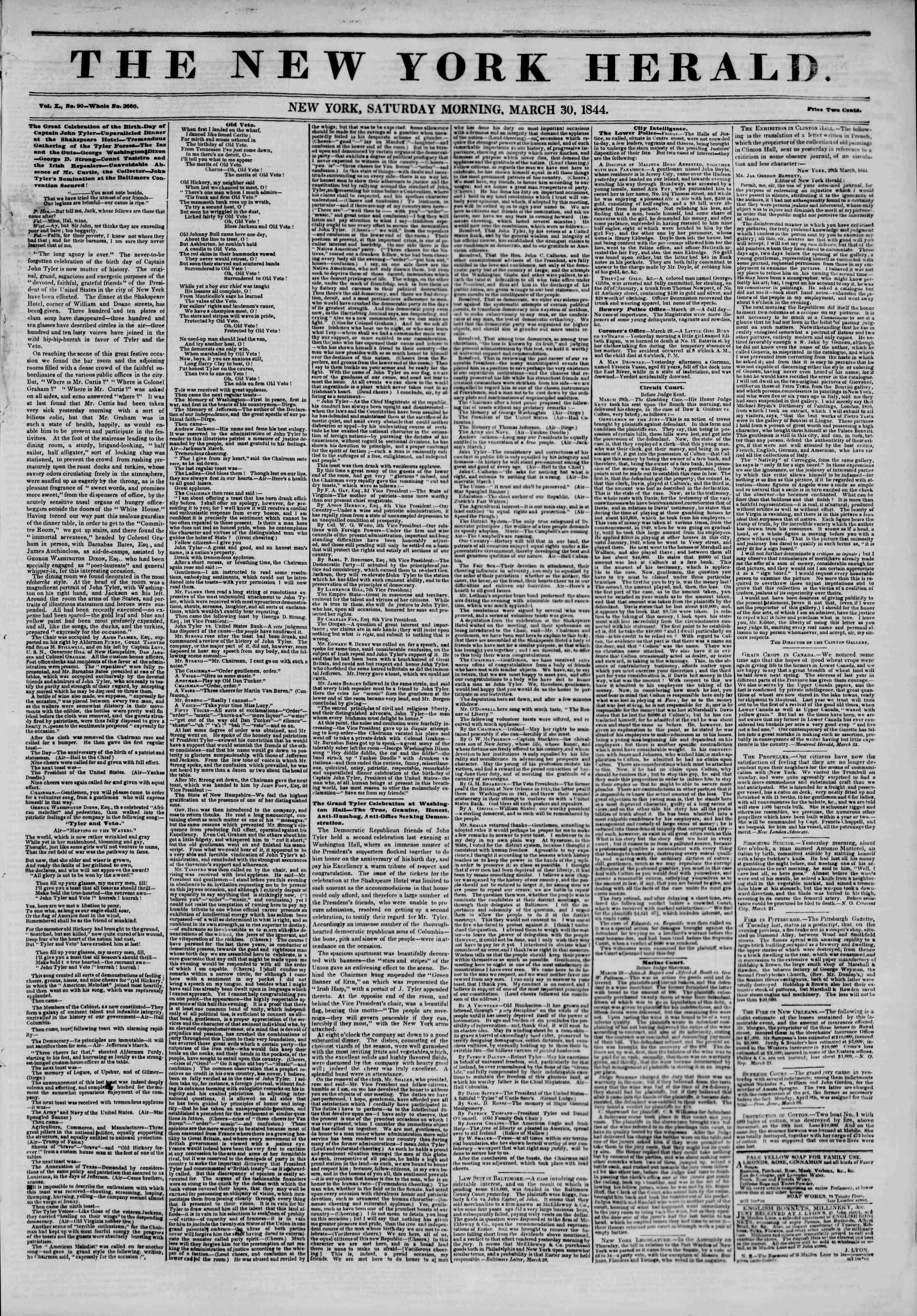 March 30, 1844 Tarihli The New York Herald Gazetesi Sayfa 1