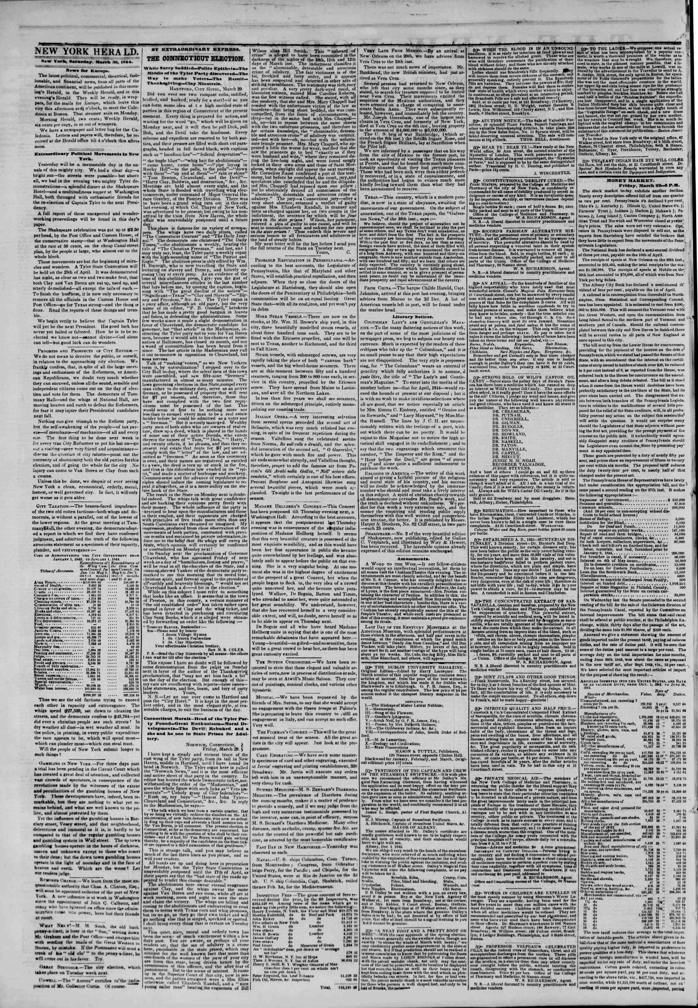 March 30, 1844 Tarihli The New York Herald Gazetesi Sayfa 2