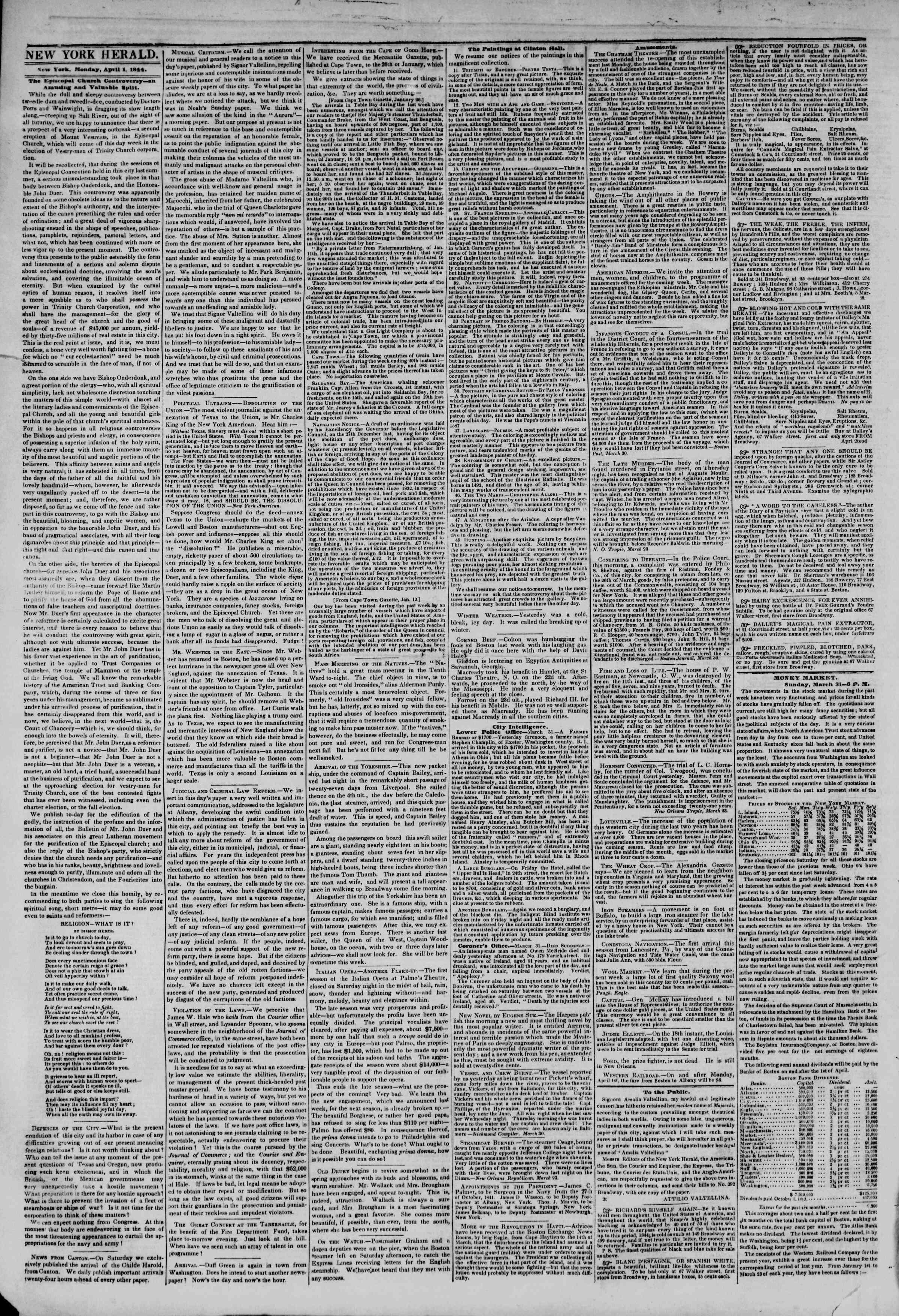 April 1, 1844 Tarihli The New York Herald Gazetesi Sayfa 2