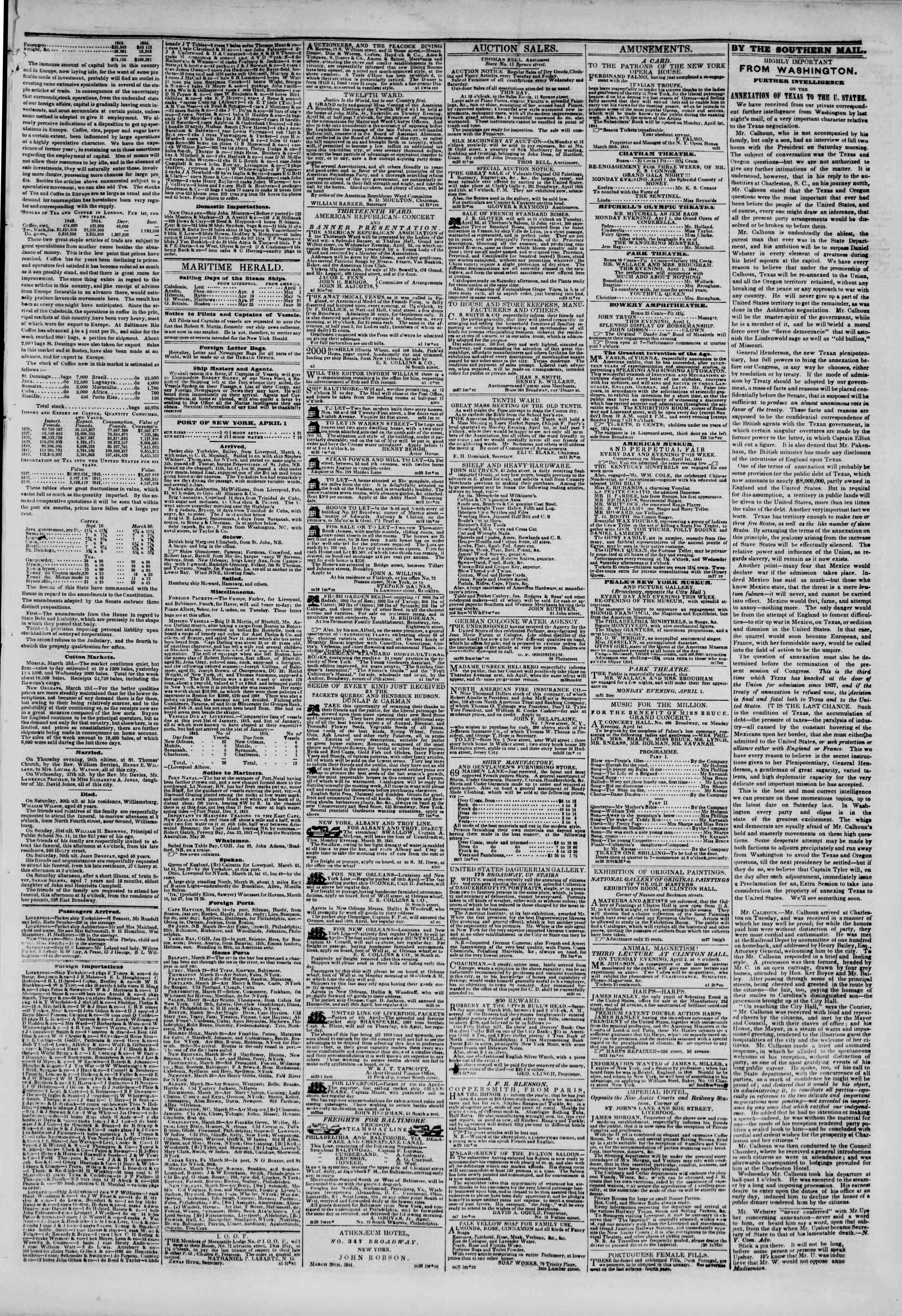 1 Nisan 1844 Tarihli The New York Herald Gazetesi Sayfa 3