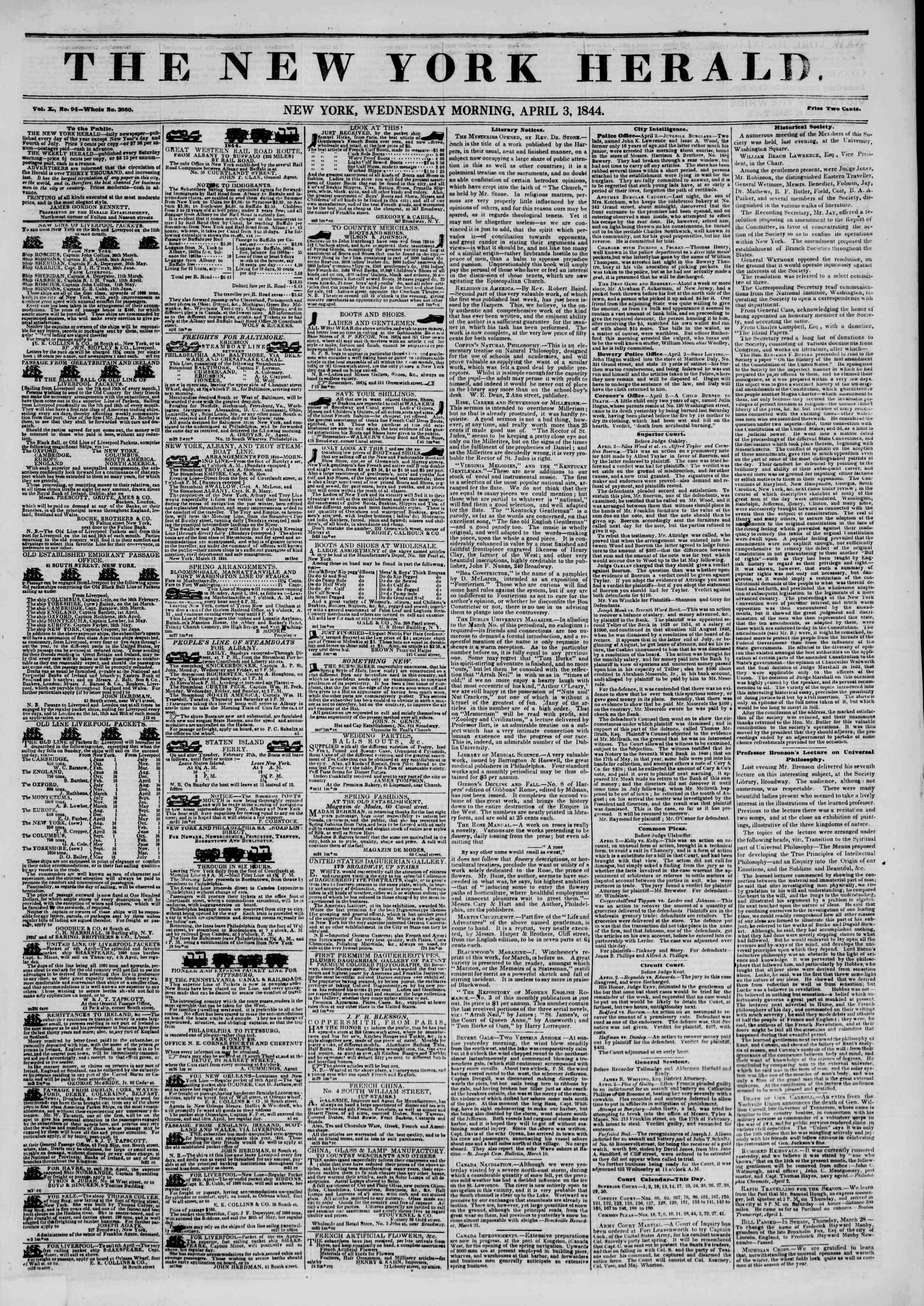 April 3, 1844 Tarihli The New York Herald Gazetesi Sayfa 1