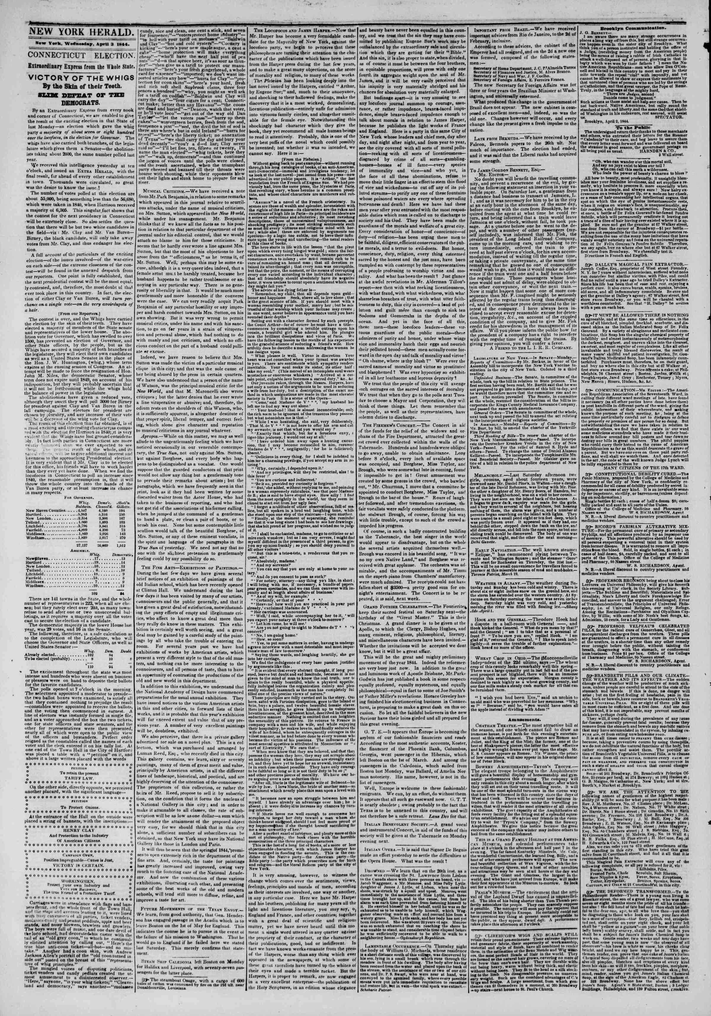 April 3, 1844 Tarihli The New York Herald Gazetesi Sayfa 2