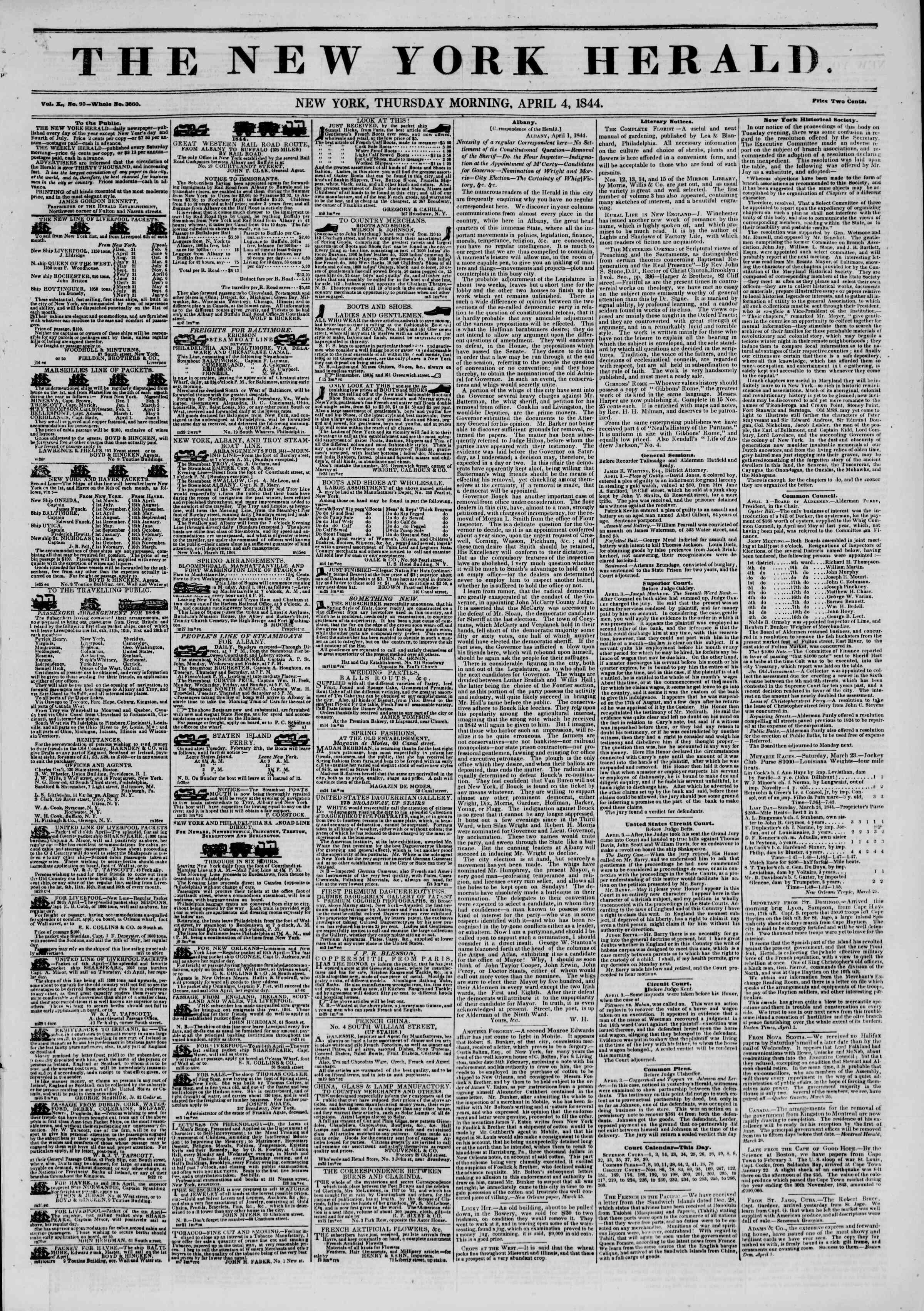 April 4, 1844 Tarihli The New York Herald Gazetesi Sayfa 1