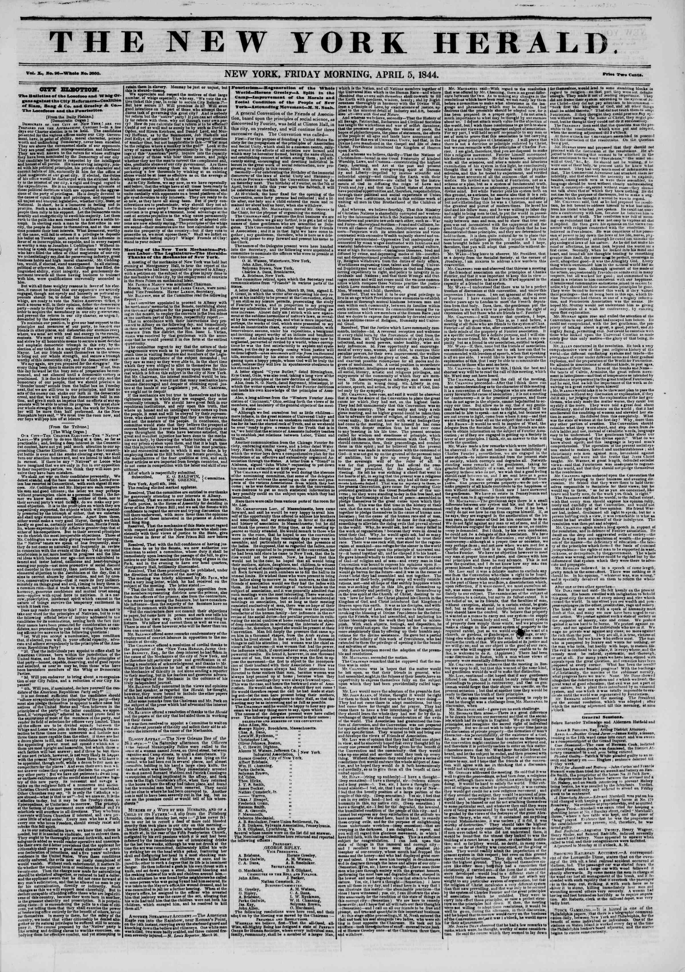 April 5, 1844 Tarihli The New York Herald Gazetesi Sayfa 1