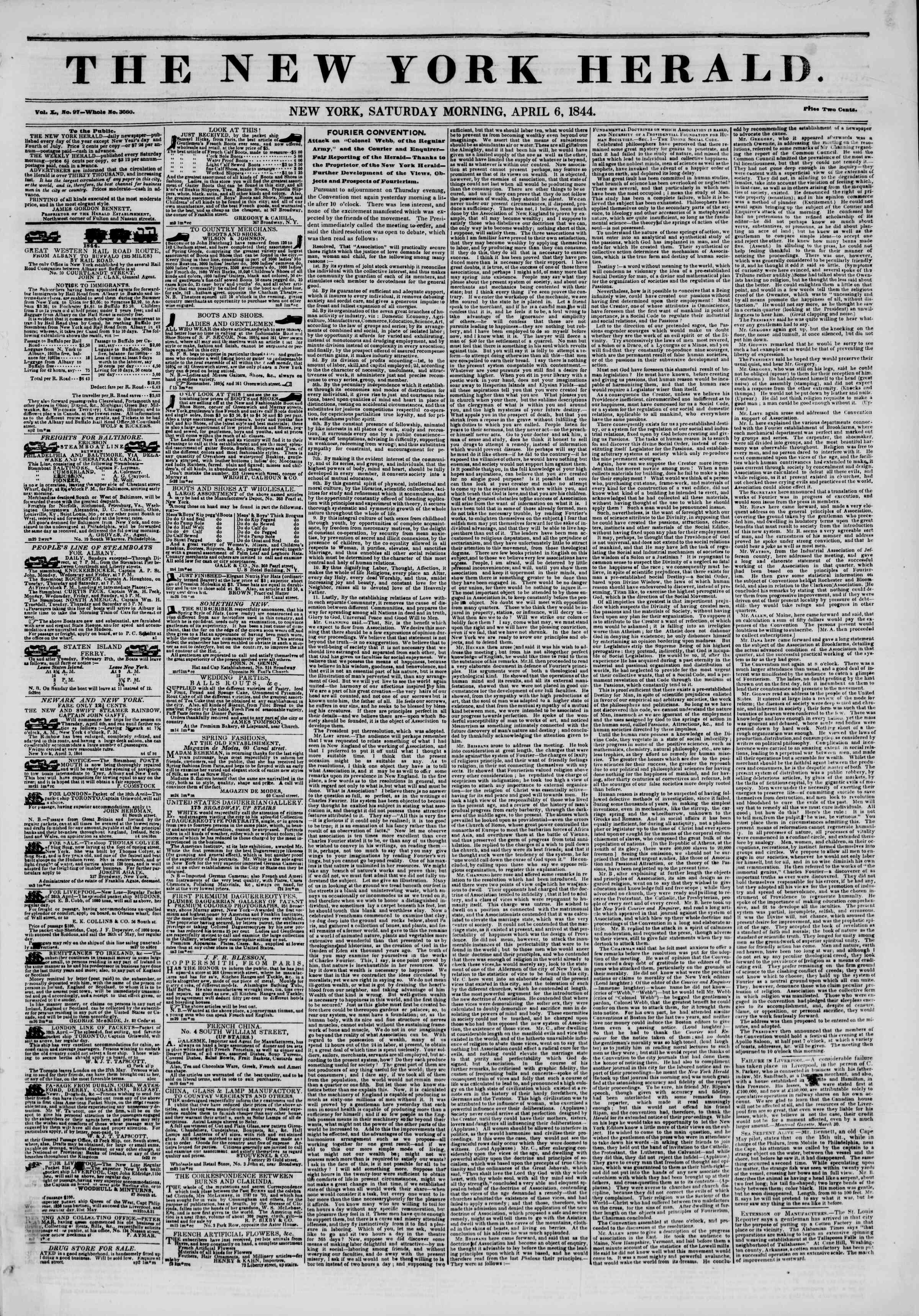 April 6, 1844 Tarihli The New York Herald Gazetesi Sayfa 1