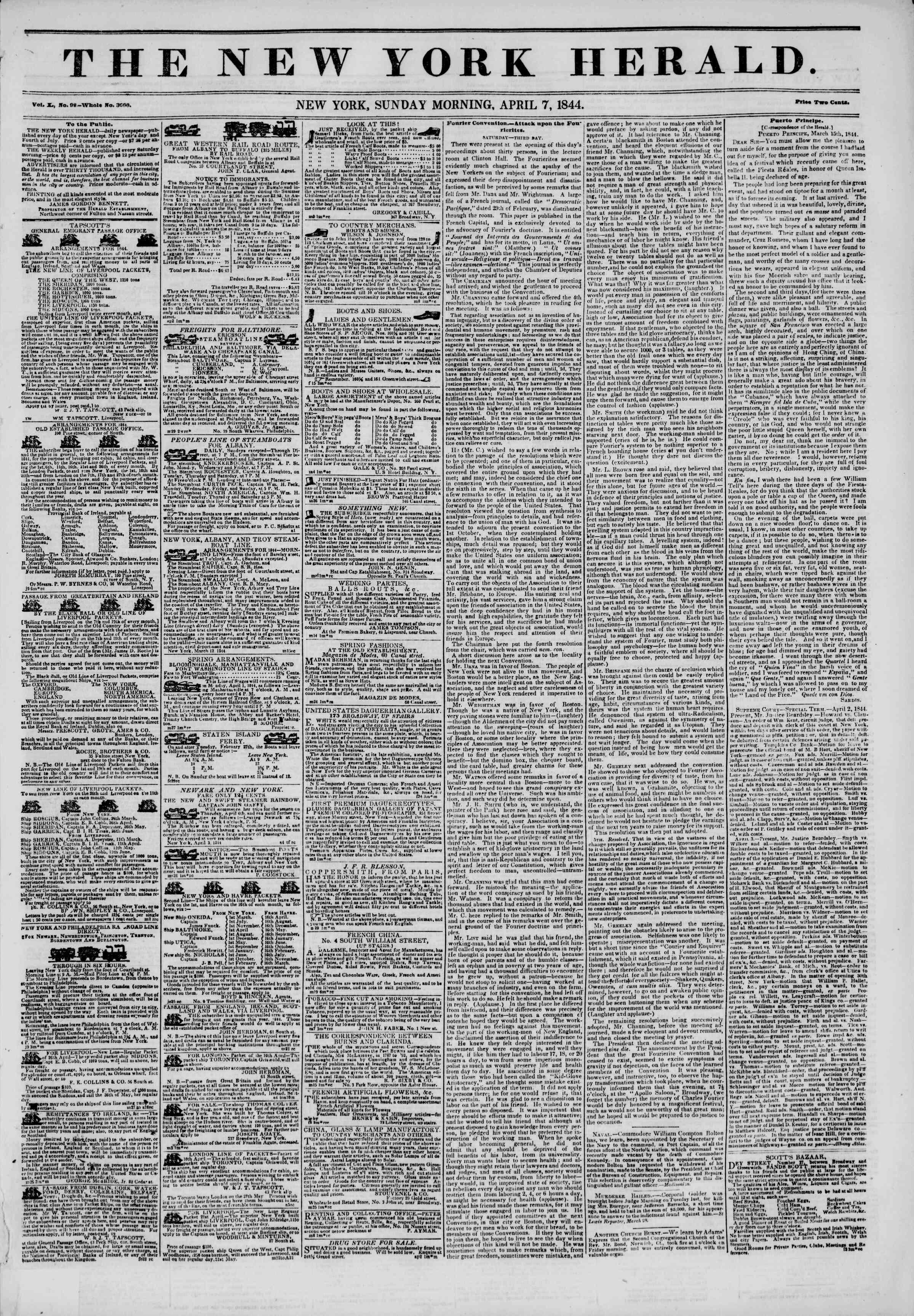 April 7, 1844 Tarihli The New York Herald Gazetesi Sayfa 1
