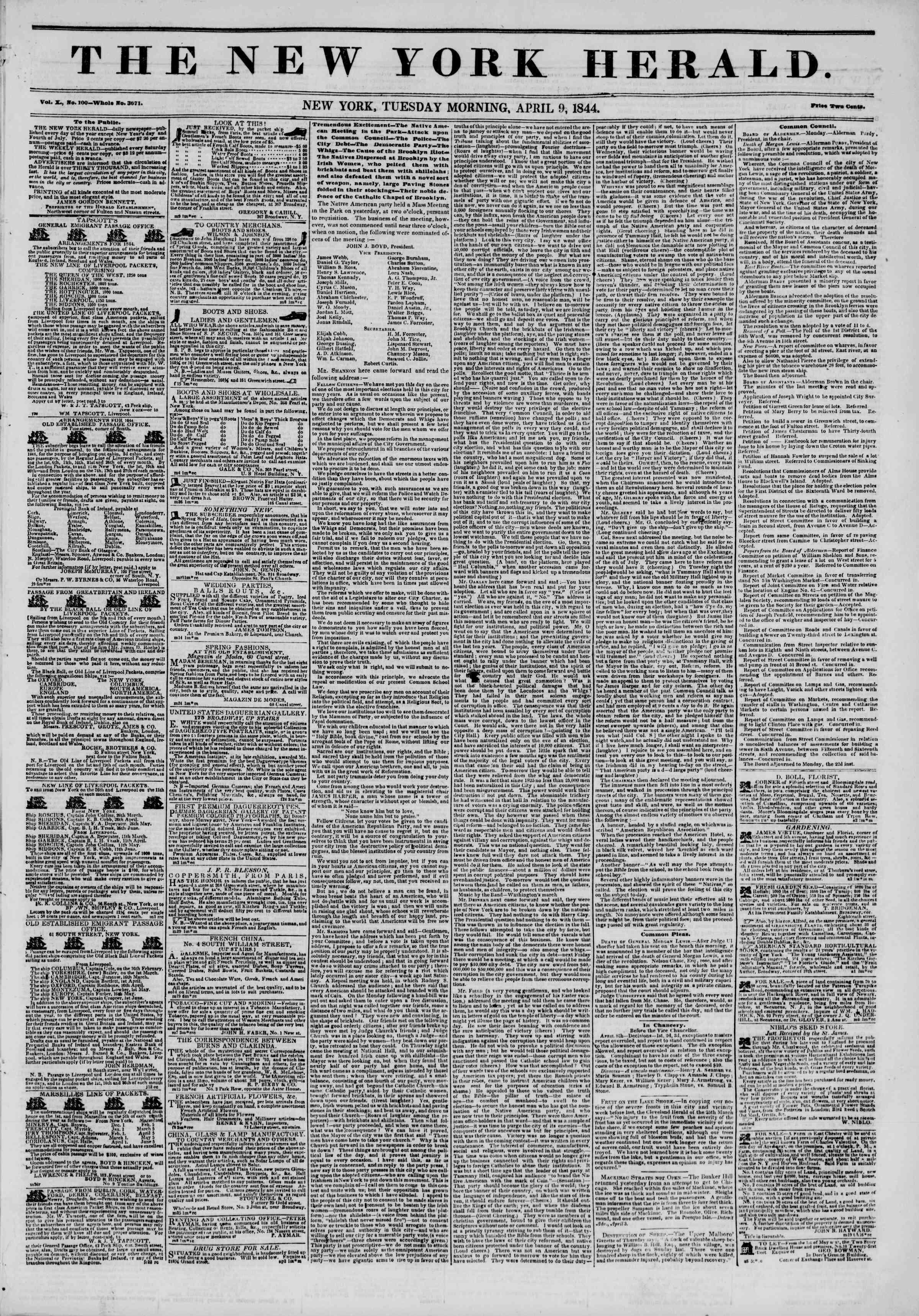 April 9, 1844 Tarihli The New York Herald Gazetesi Sayfa 1
