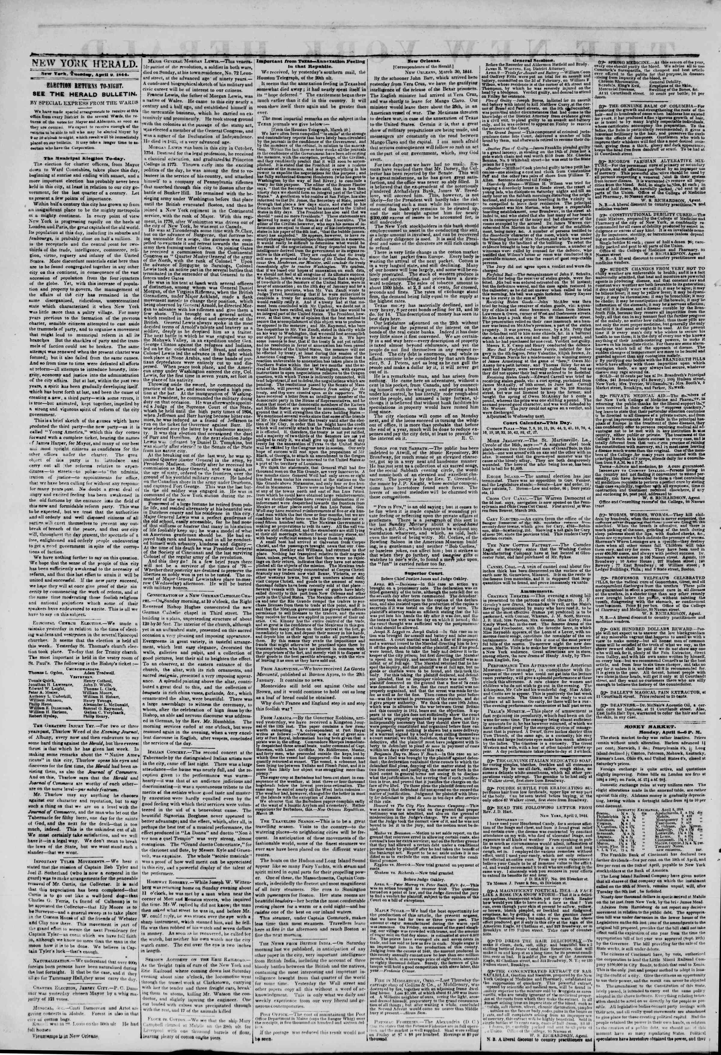 Newspaper of The New York Herald dated April 9, 1844 Page 2