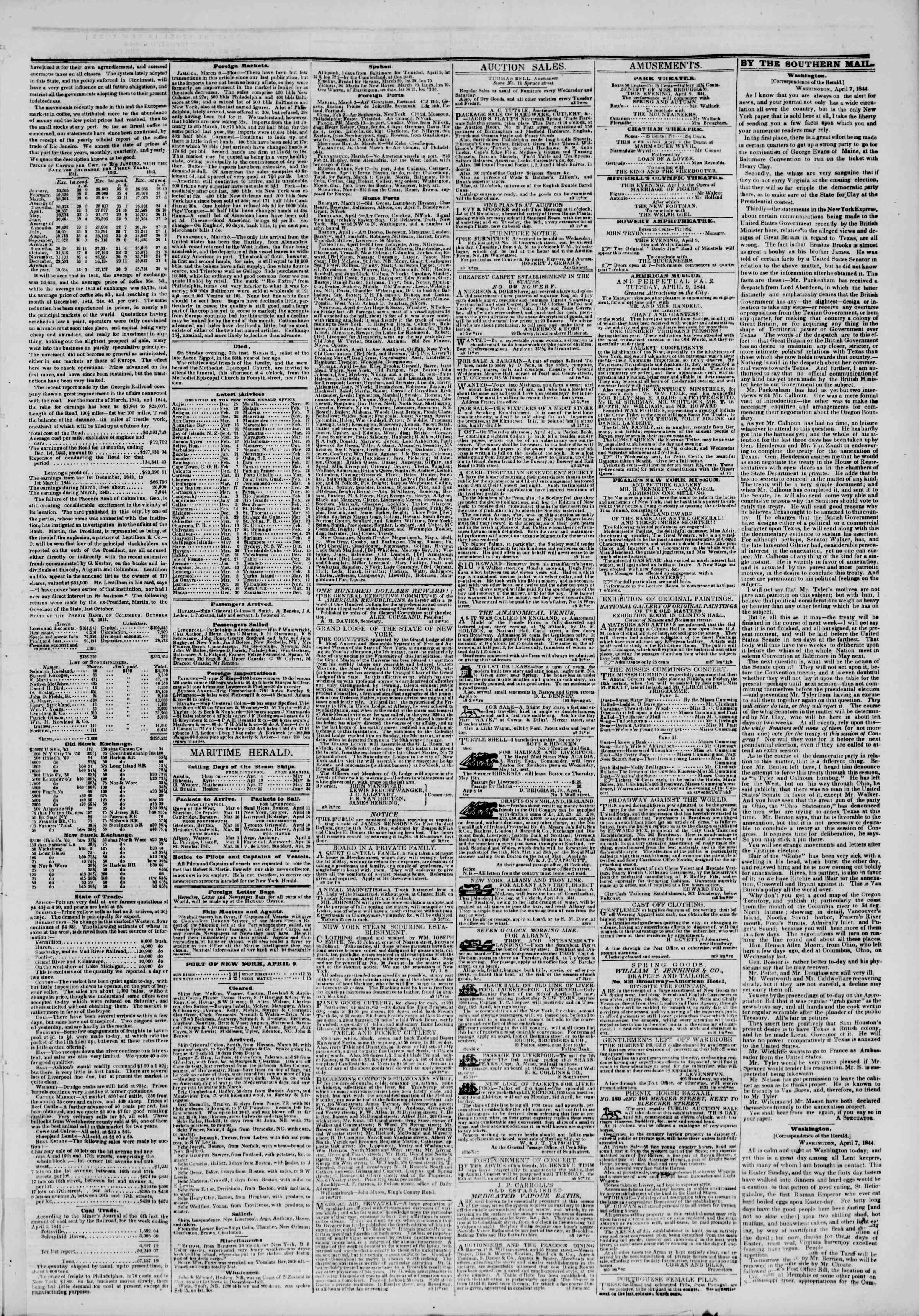 Newspaper of The New York Herald dated April 9, 1844 Page 3