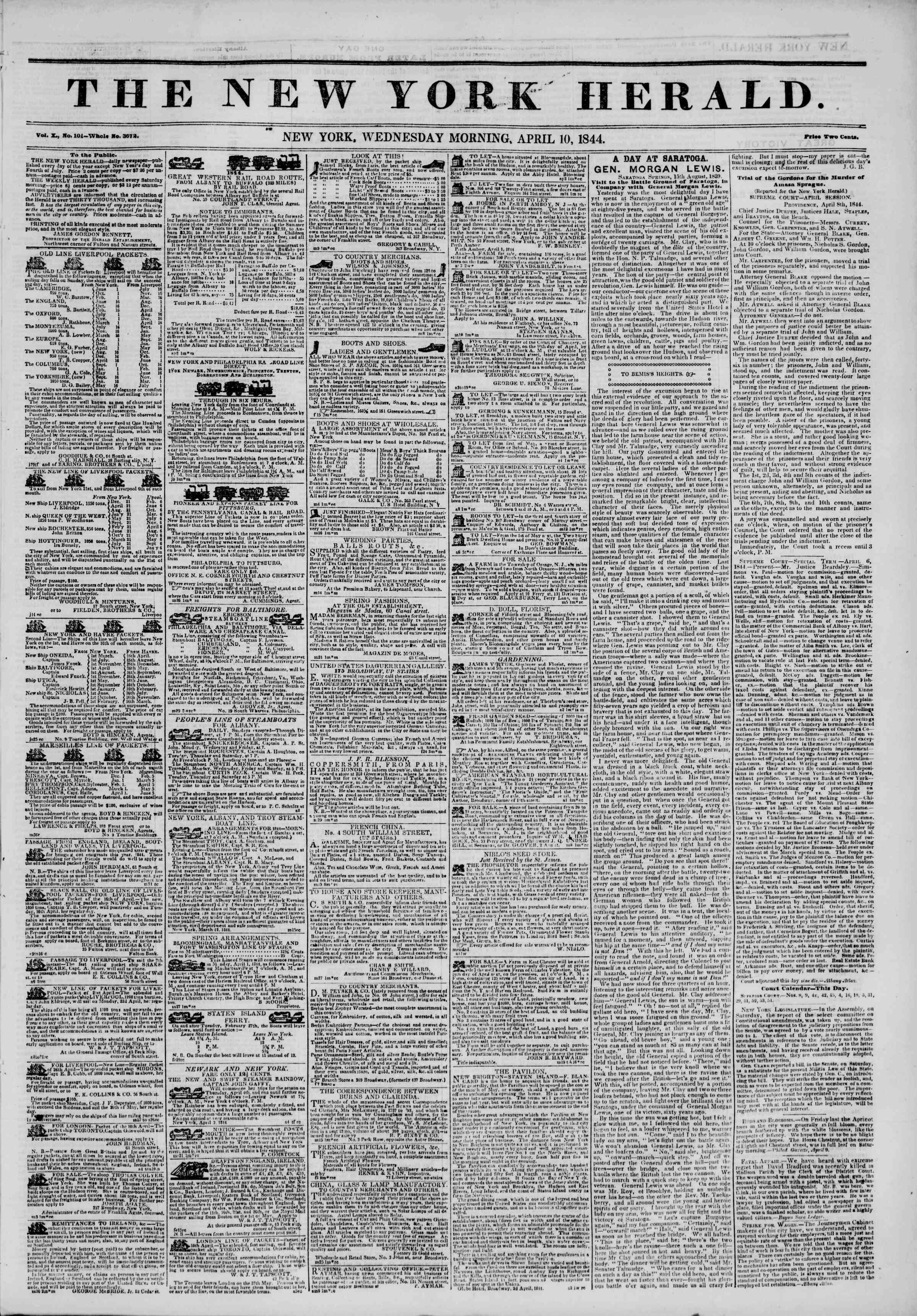 April 10, 1844 Tarihli The New York Herald Gazetesi Sayfa 1