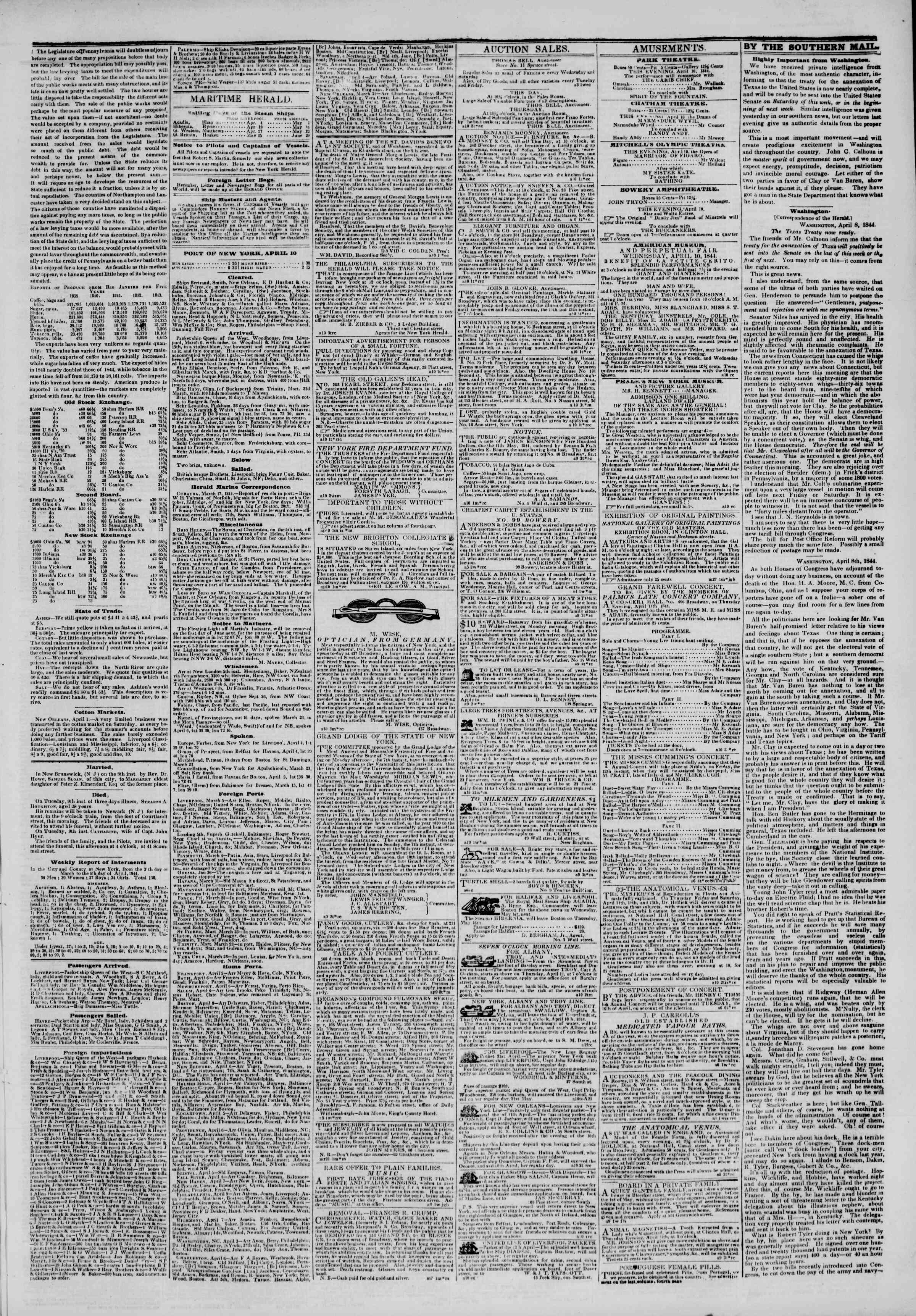Newspaper of The New York Herald dated April 10, 1844 Page 3