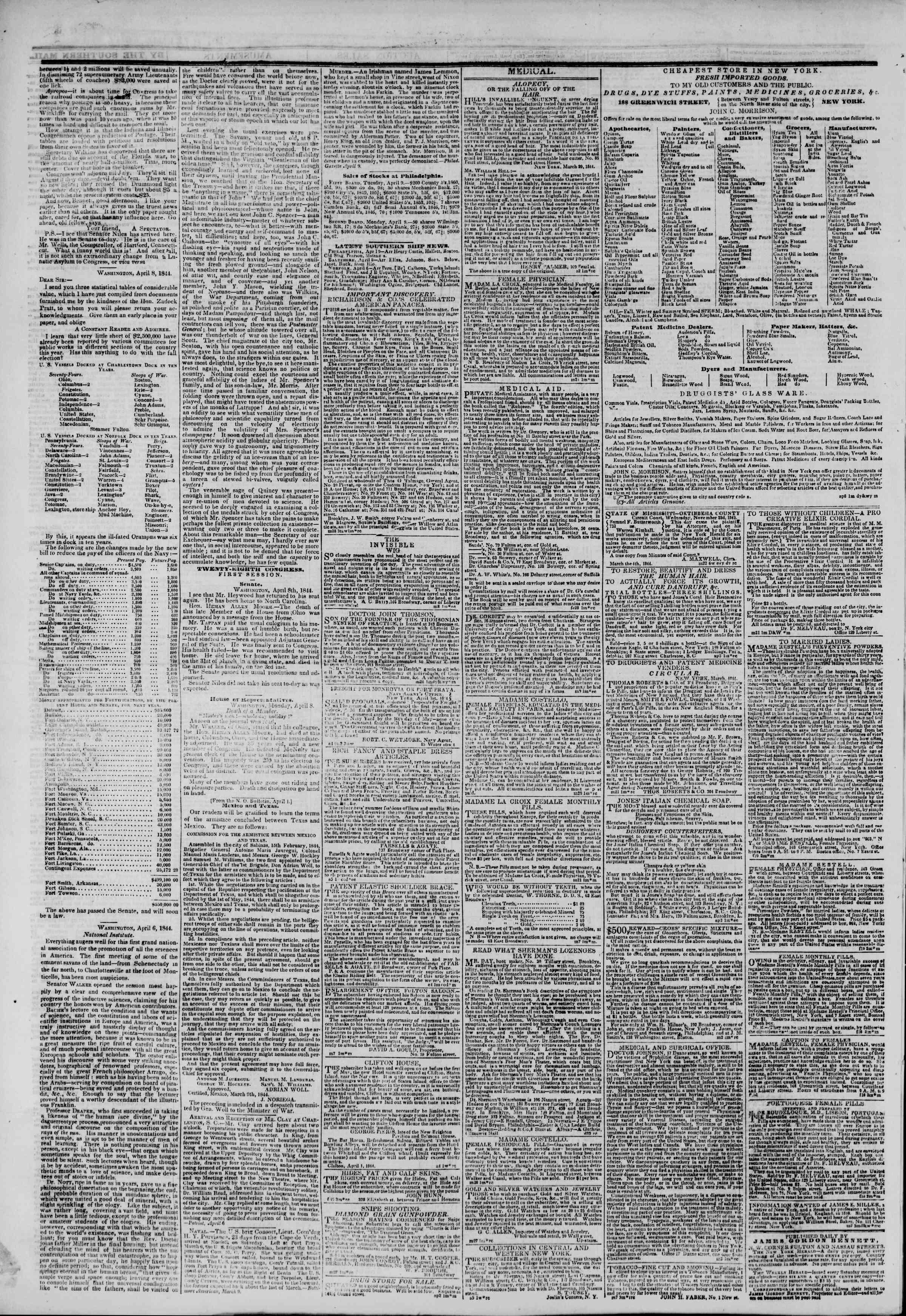 April 10, 1844 Tarihli The New York Herald Gazetesi Sayfa 4