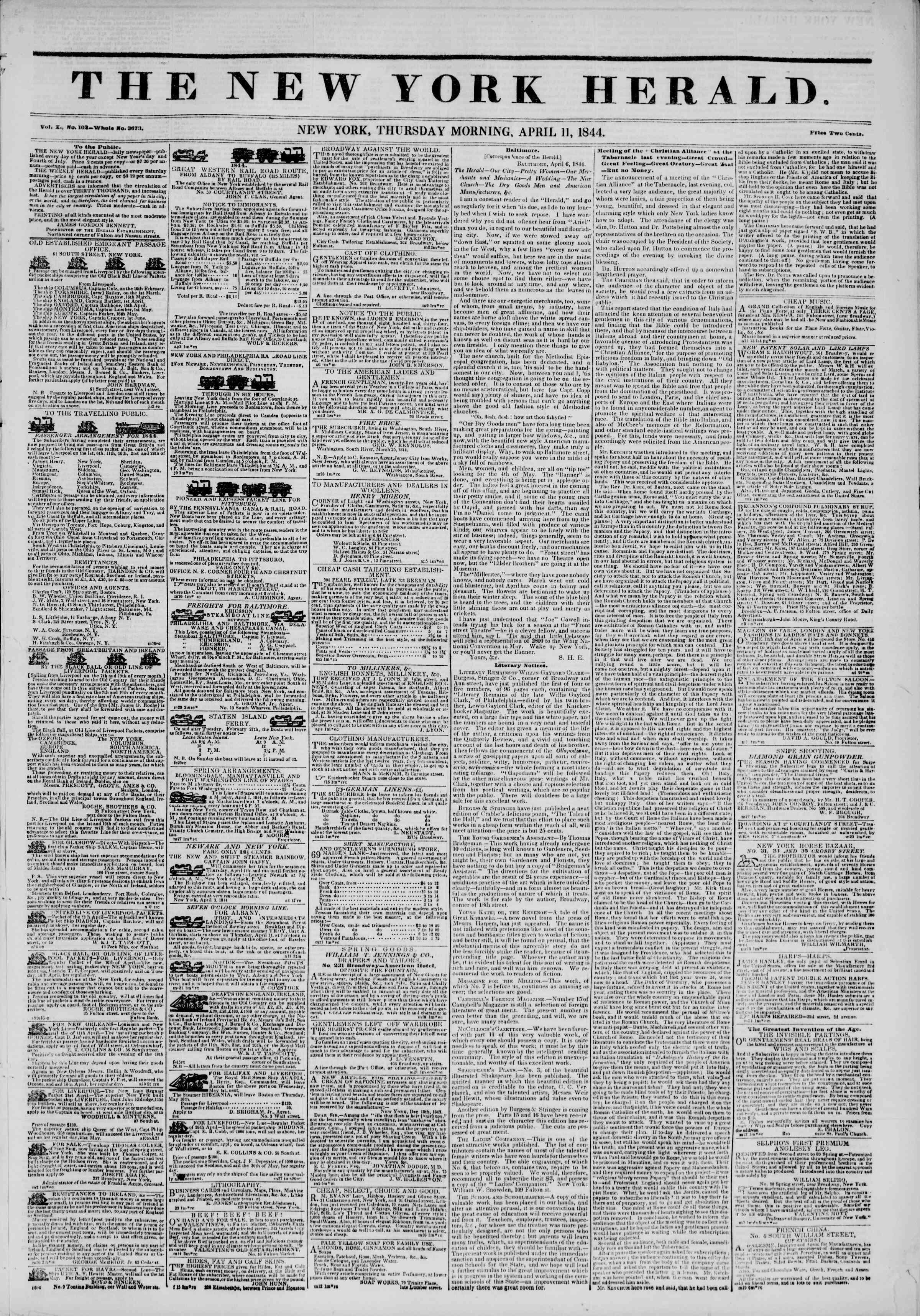 11 Nisan 1844 Tarihli The New York Herald Gazetesi Sayfa 1