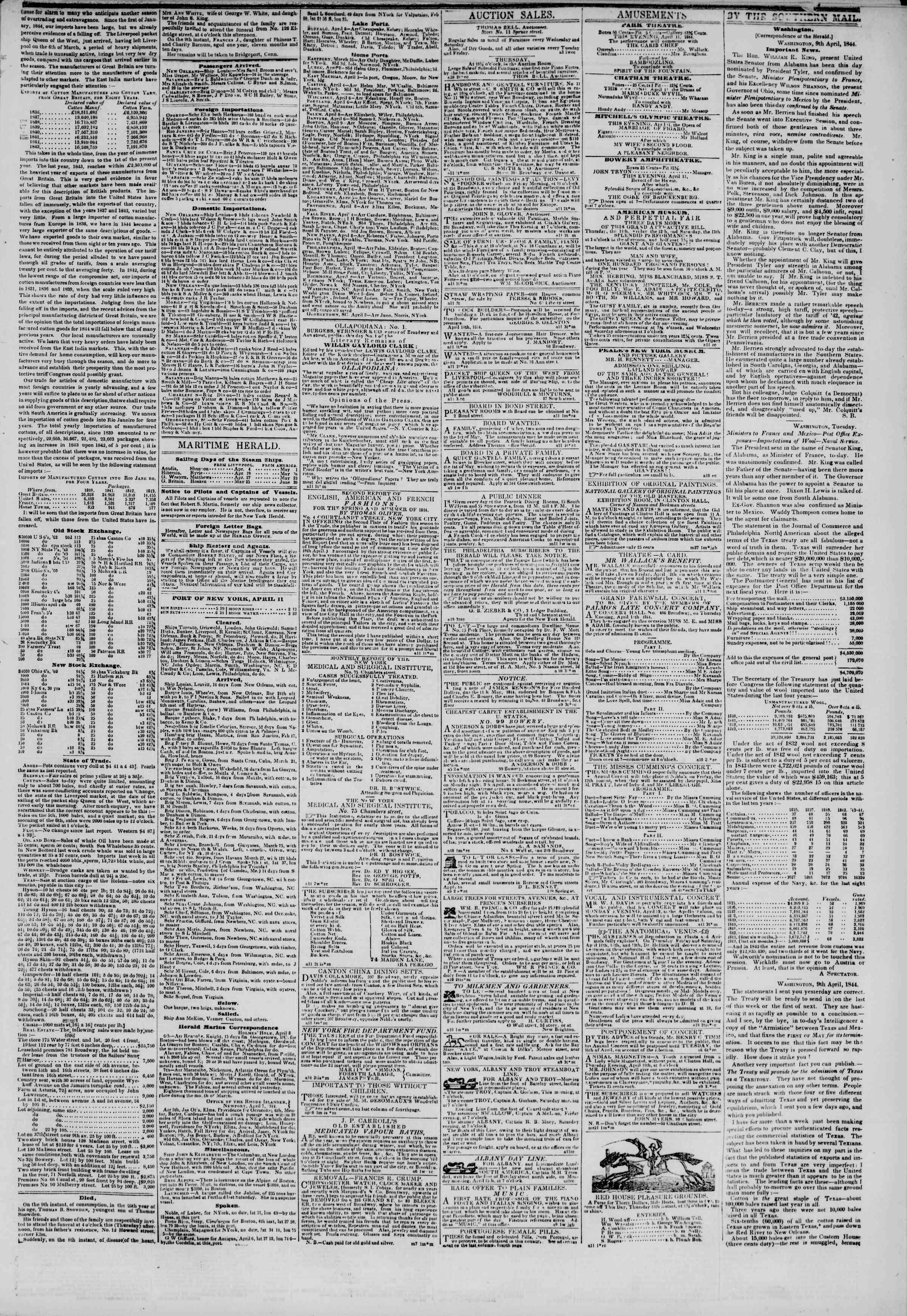 April 11, 1844 Tarihli The New York Herald Gazetesi Sayfa 3