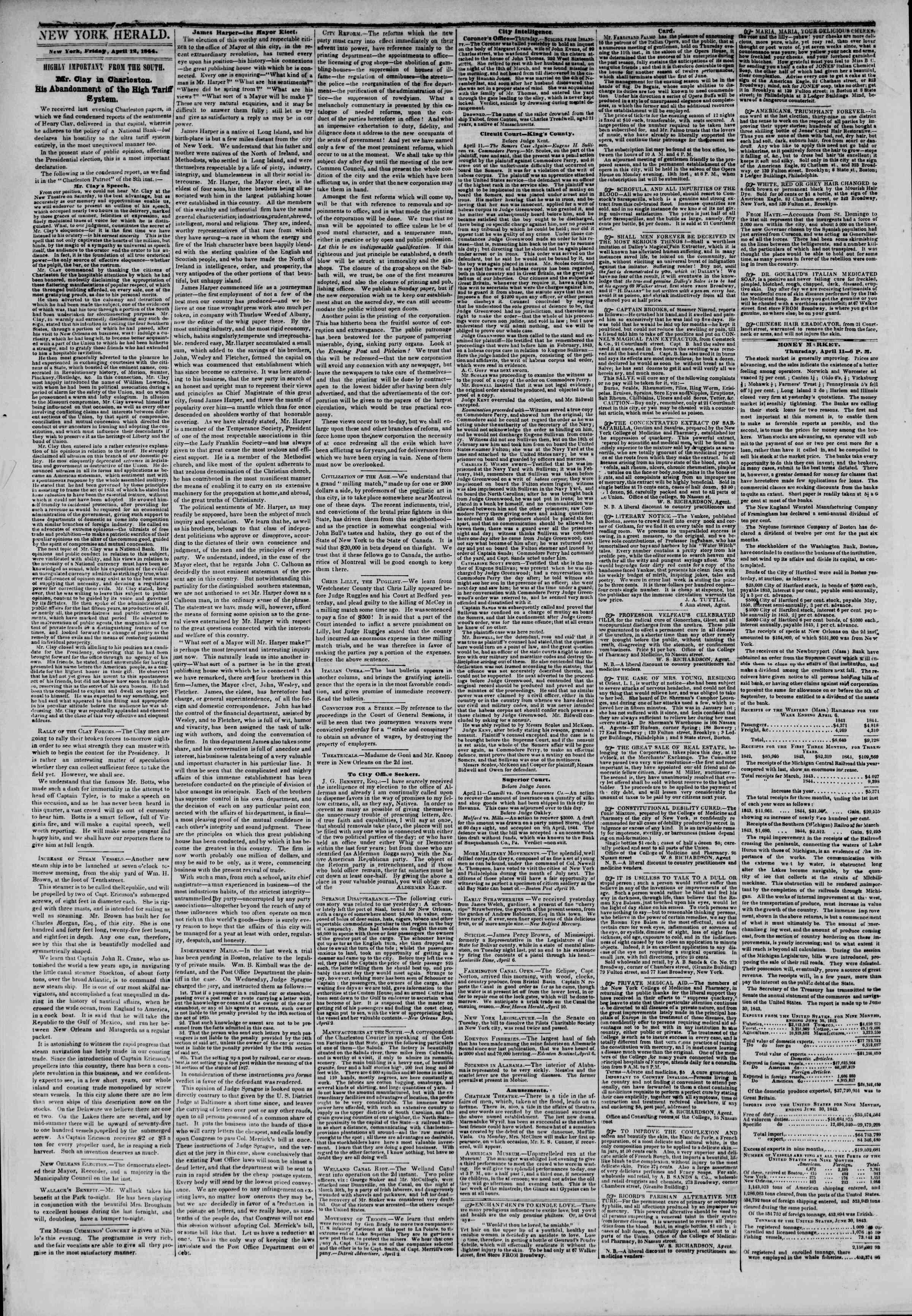 April 12, 1844 Tarihli The New York Herald Gazetesi Sayfa 2