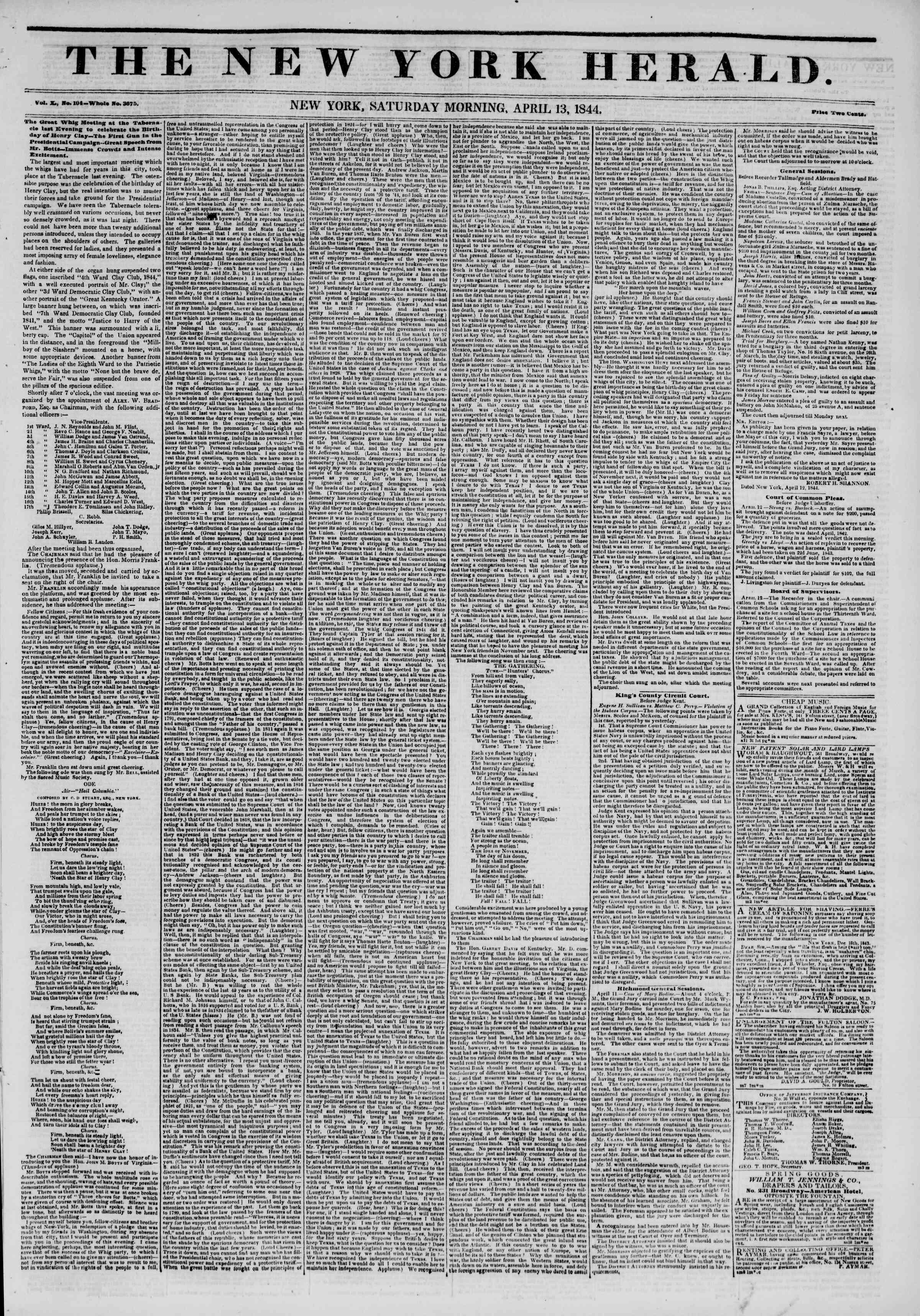 April 13, 1844 Tarihli The New York Herald Gazetesi Sayfa 1
